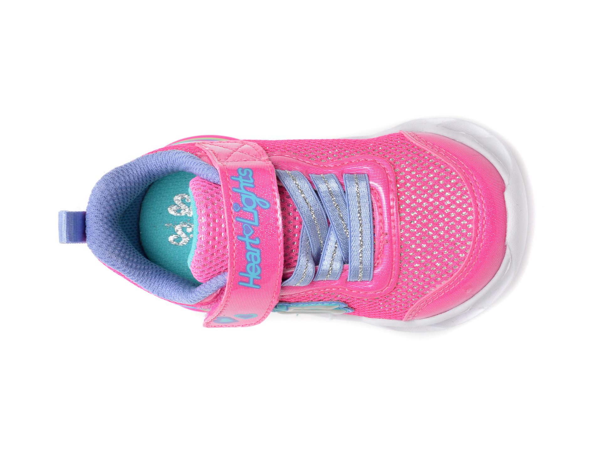 Pantofi sport SKECHERS roz, Sweetheart Lights Shimmer Spells, din piele ecologica - 6