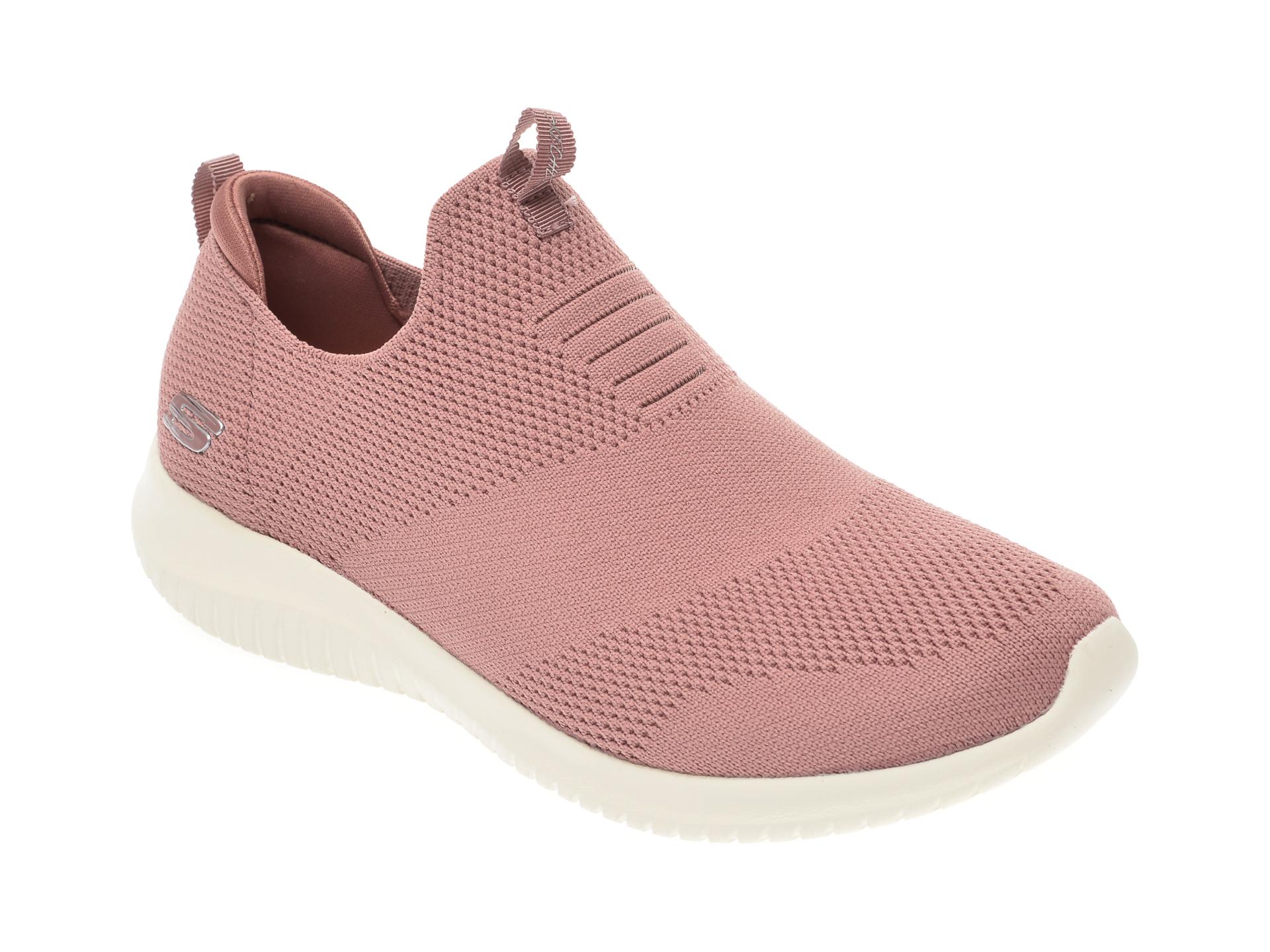 Pantofi sport SKECHERS roz, Ultra Flex First Take, din piele ecologica