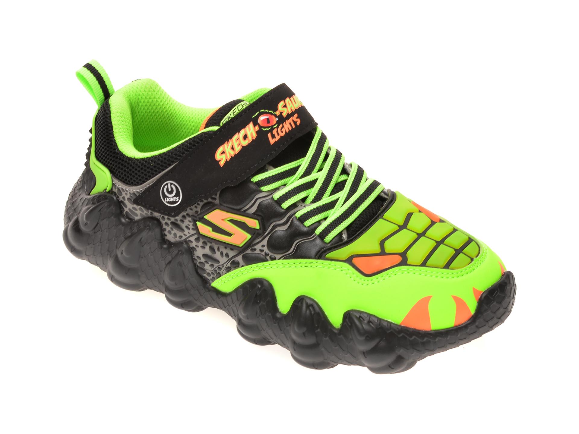 Pantofi sport SKECHERS verzi, SKECH-O-SAURUS LIGHTS, din piele ecologica imagine otter.ro