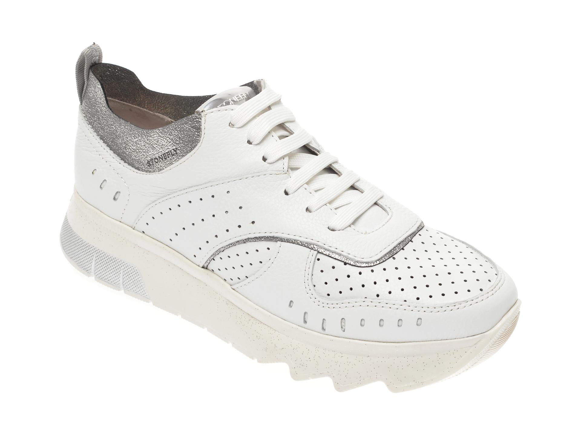Pantofi sport STONEFLY albi, SPOCK14, din piele naturala