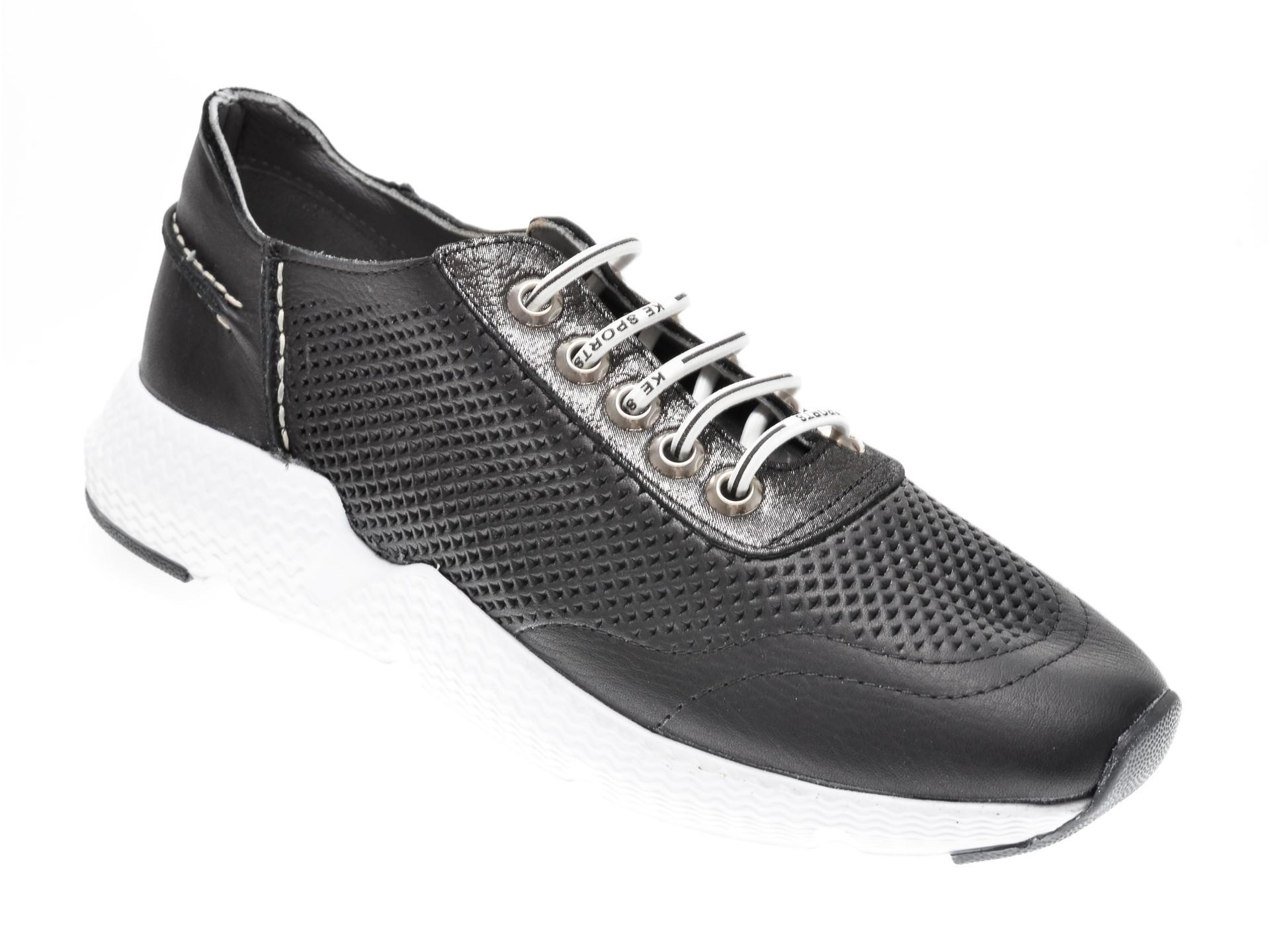 Pantofi sport TNC negri, 1842023, din piele naturala New