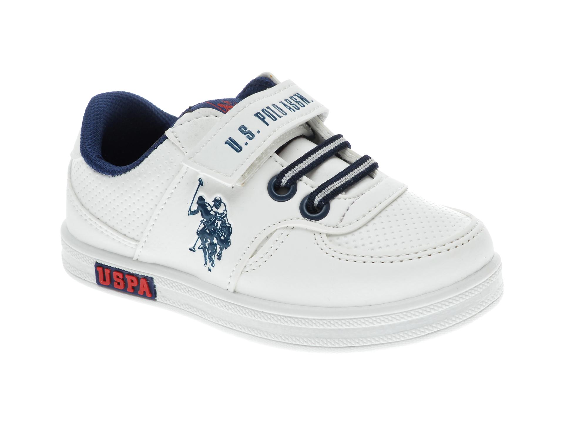 Pantofi sport US POLO ASSN albi, 241648, din piele ecologica imagine
