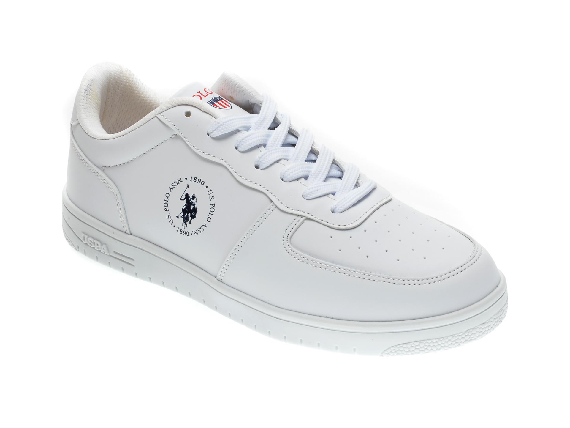 Pantofi sport US POLO ASSN albi, 279016, din piele ecologica