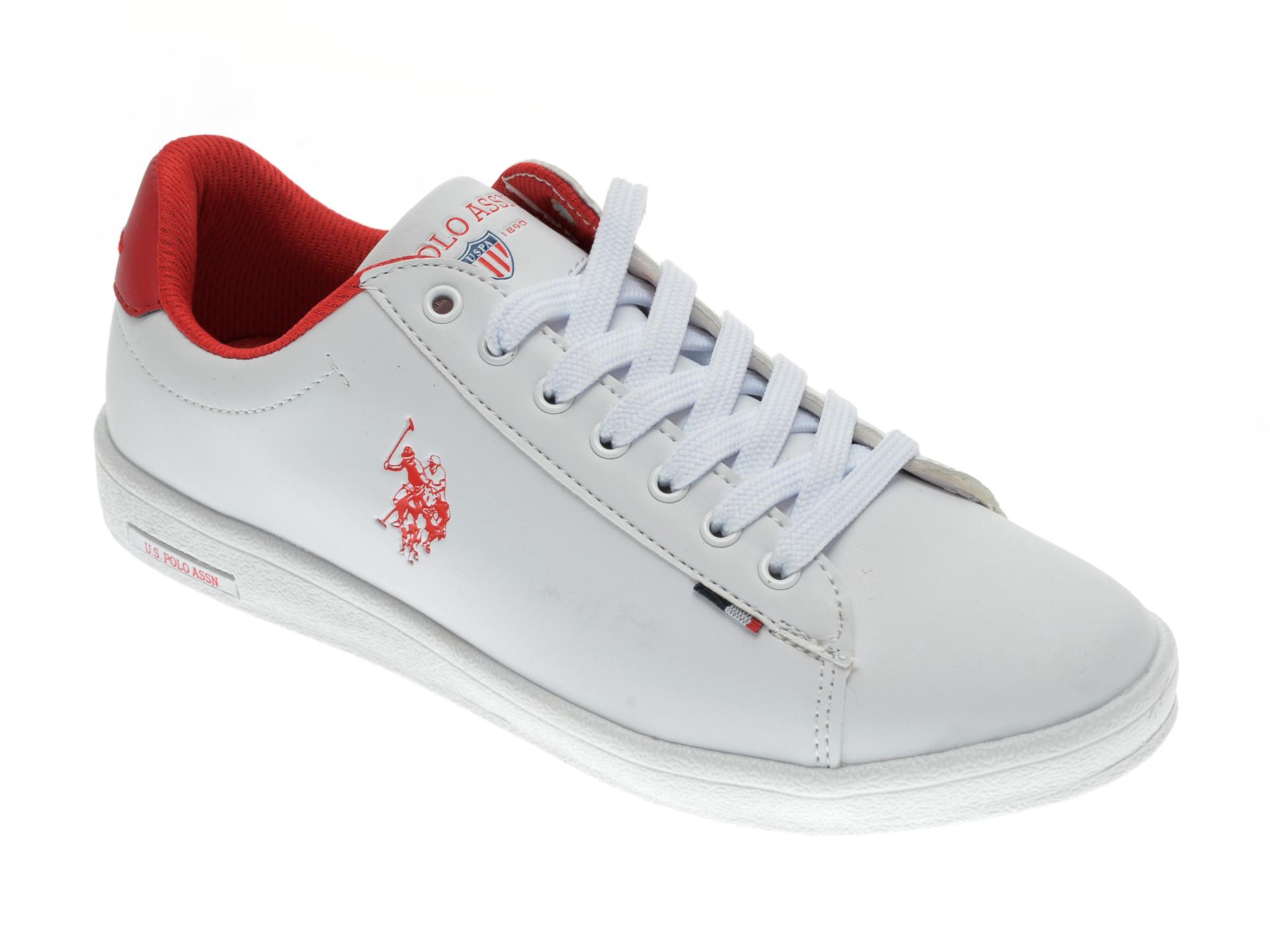 Pantofi sport US POLO ASSN albi, 327264, din piele ecologica New