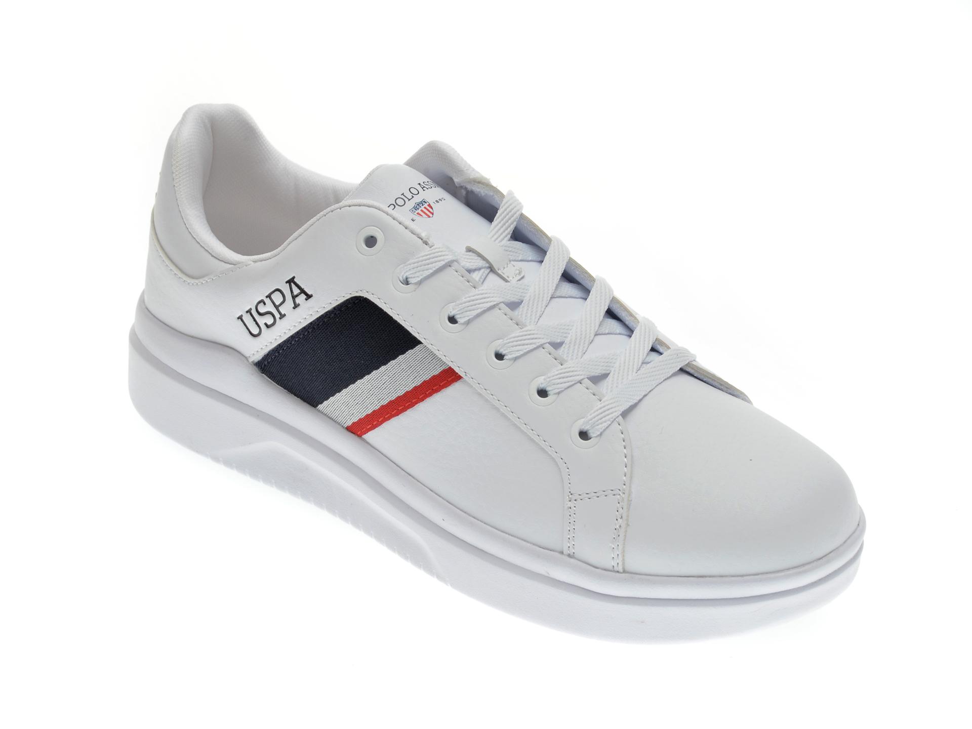 Pantofi sport US POLO ASSN albi, 417797, din piele ecologica imagine