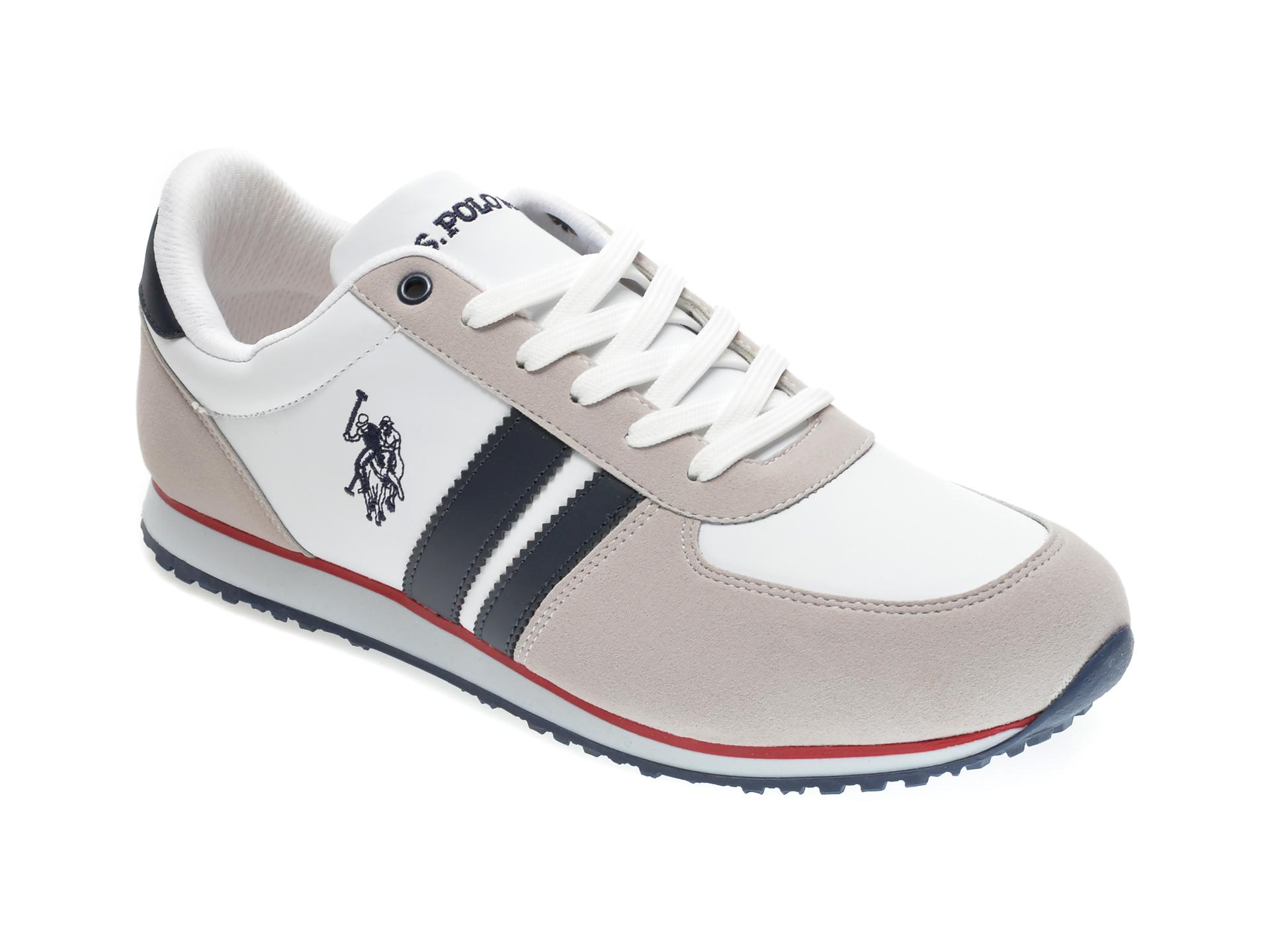 Pantofi sport US POLO ASSN albi, 418097, din piele ecologica imagine
