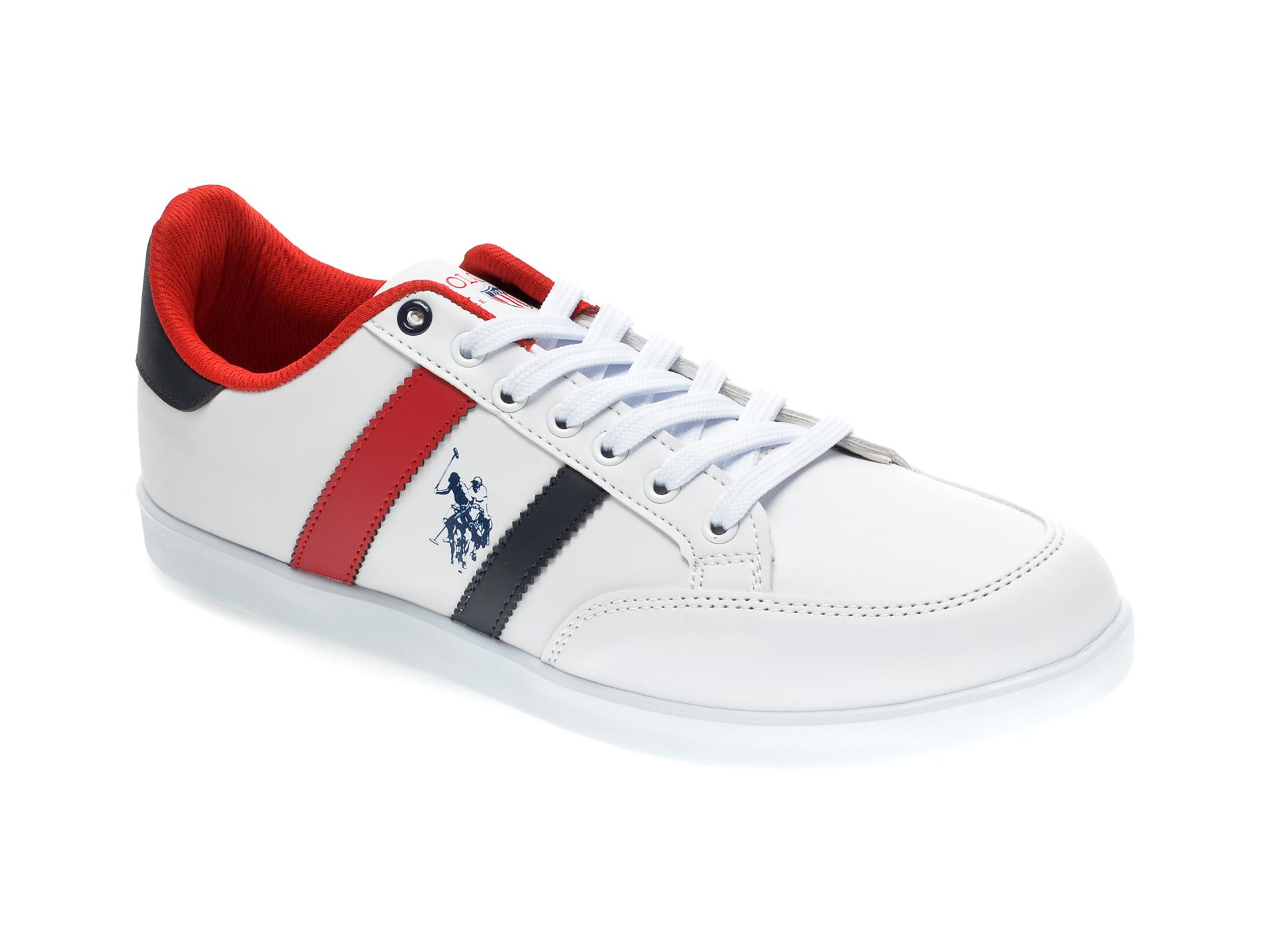 Pantofi sport US POLO ASSN albi, 418118, din piele ecologica imagine