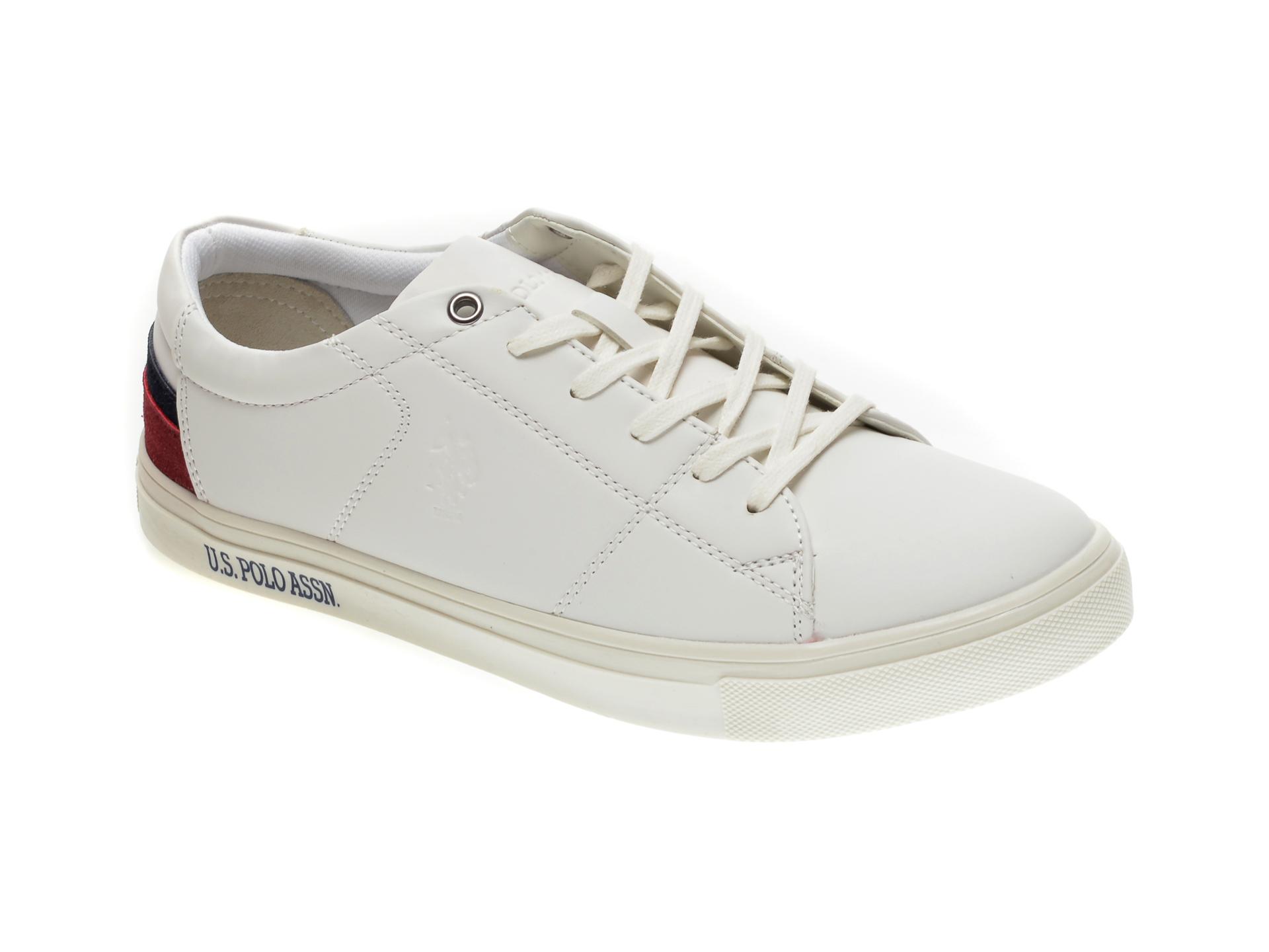 Pantofi sport US POLO ASSN albi, 420505, din piele ecologica imagine