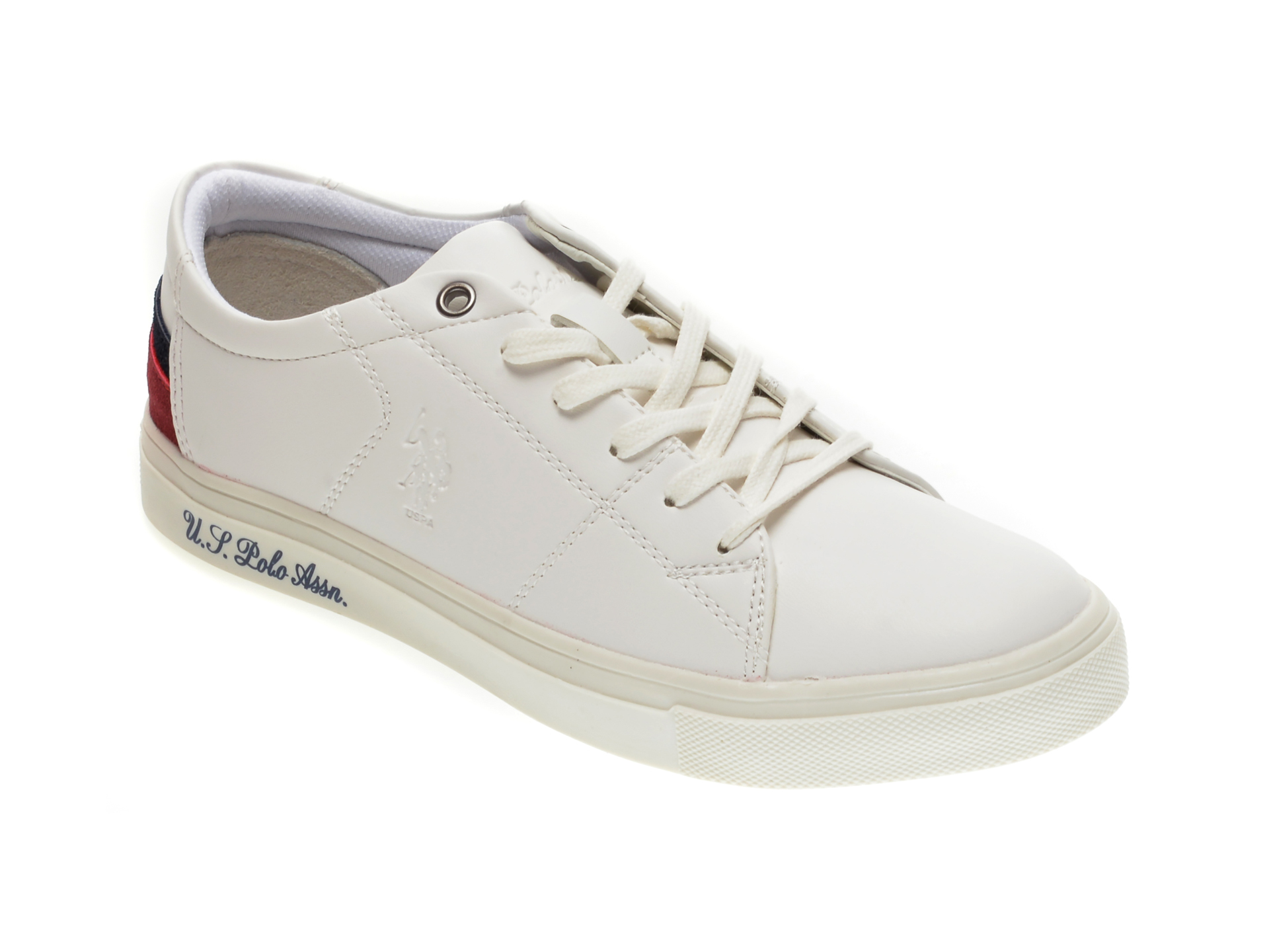 Pantofi sport US POLO ASSN albi, 422445, din piele ecologica imagine