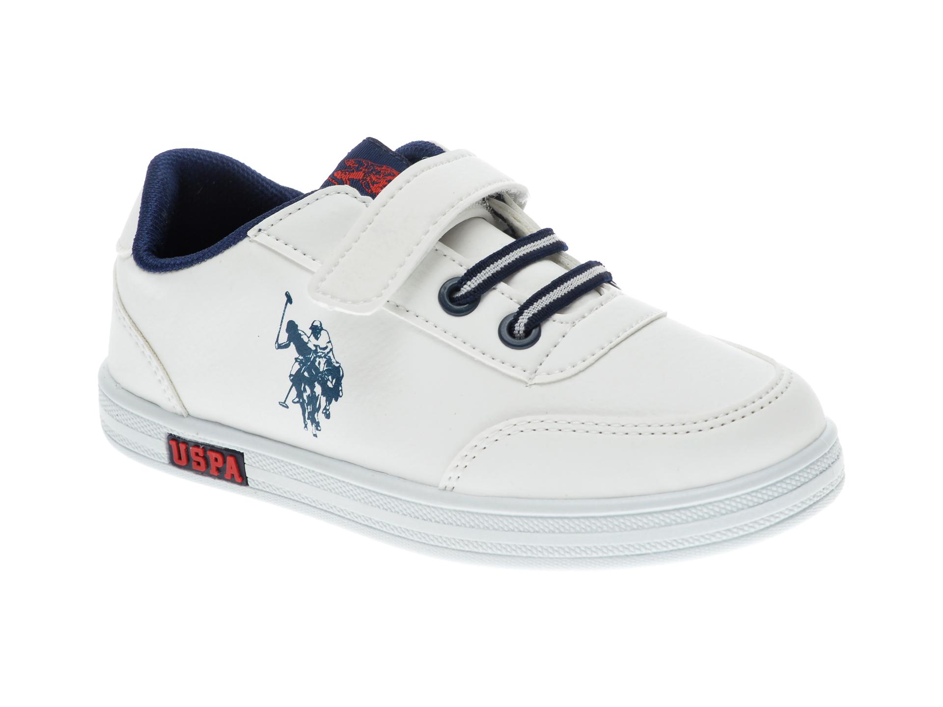 Pantofi sport US POLO ASSN albi, 429454, din piele ecologica imagine