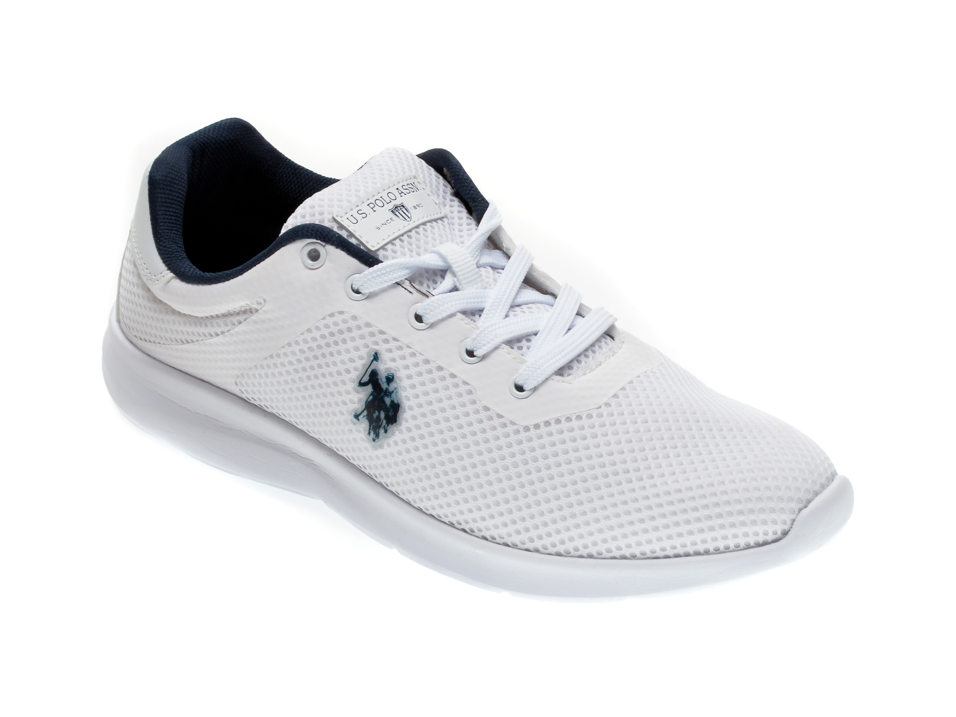 Pantofi sport US POLO ASSN albi, 489494, din piele ecologica imagine