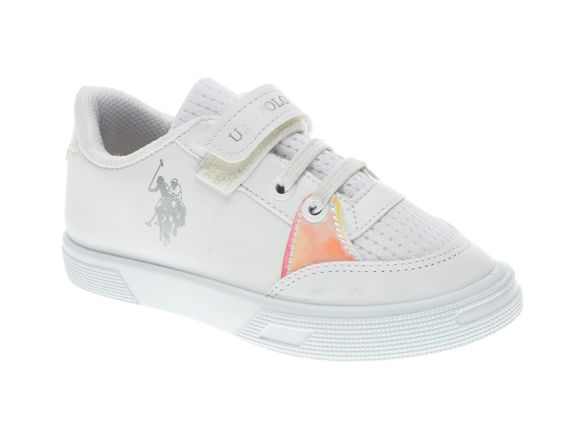 Pantofi sport US POLO ASSN albi, 505059, din piele ecologica imagine