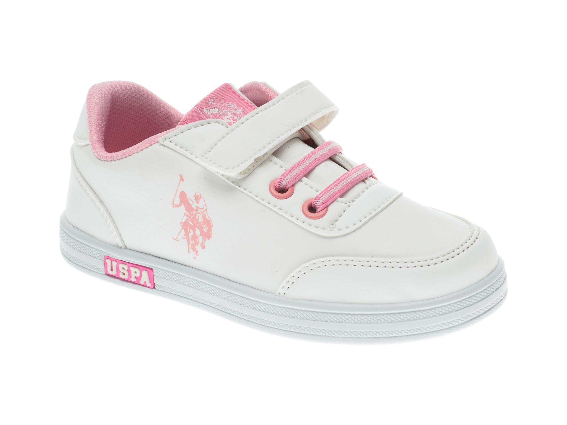 Pantofi sport US POLO ASSN albi, 567969, din piele ecologica imagine