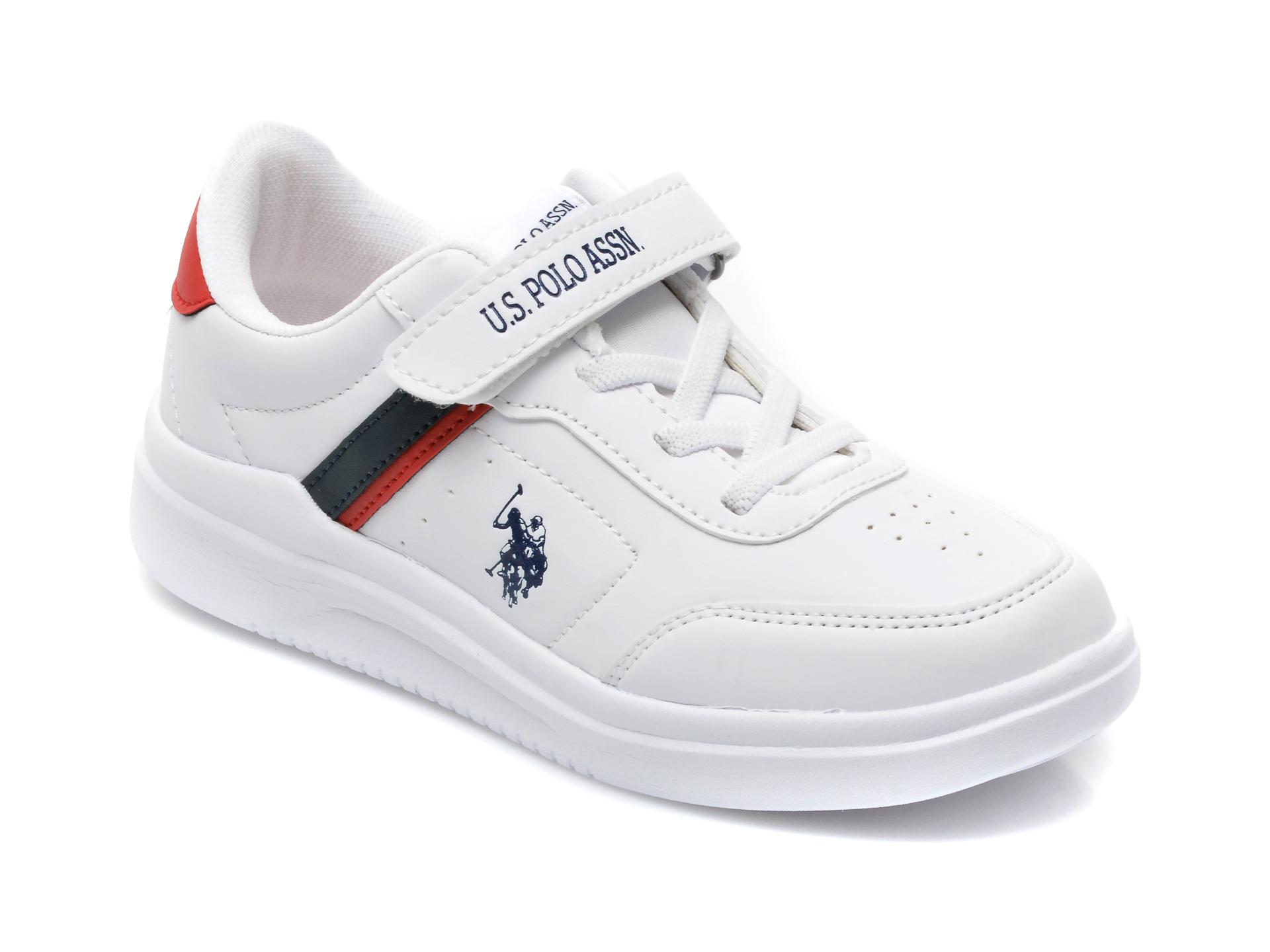 Pantofi sport US POLO ASSN albi, BERKELEY JR, din piele ecologica