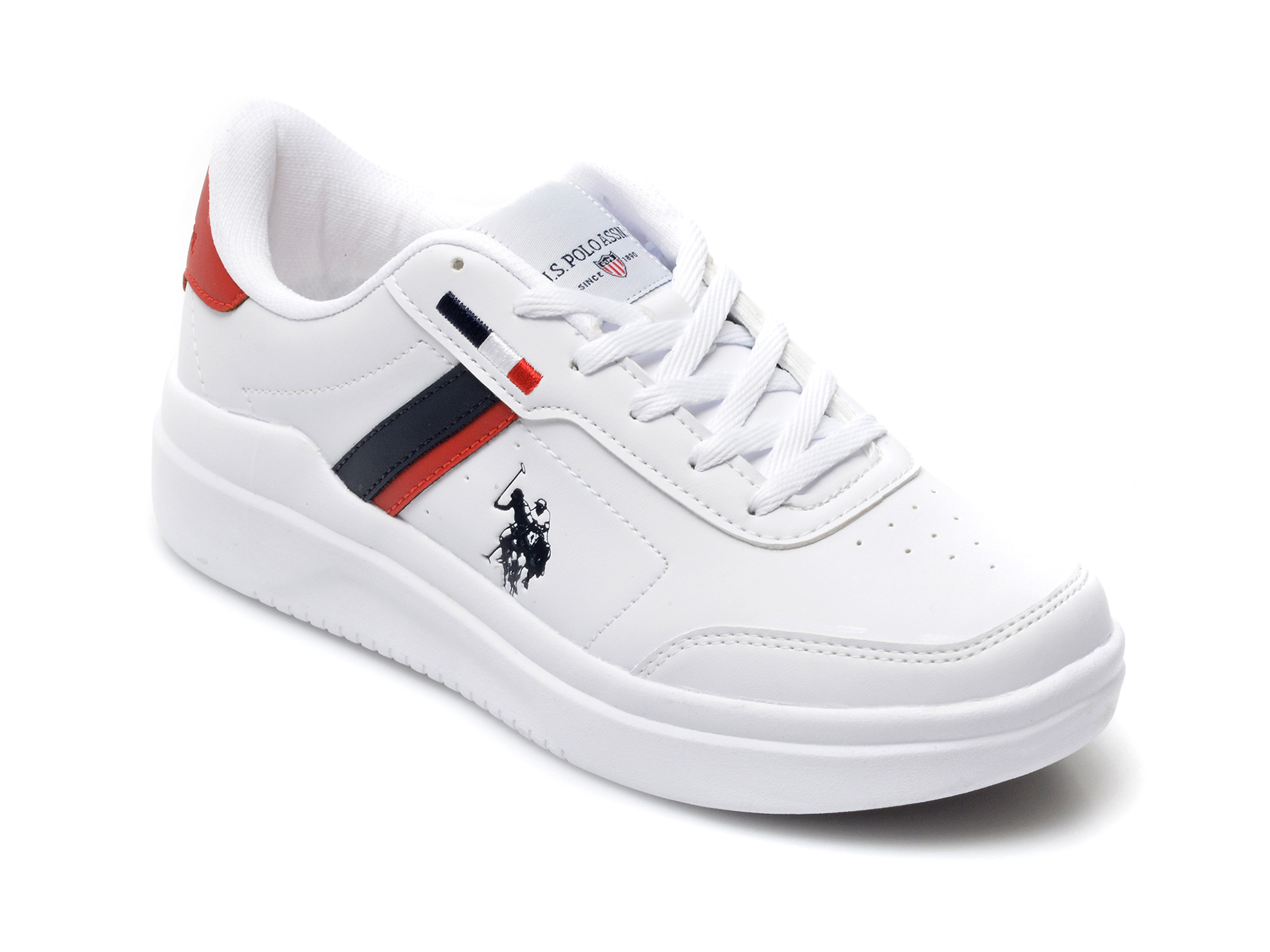 Pantofi sport US POLO ASSN albi, THUNDER, din piele ecologica