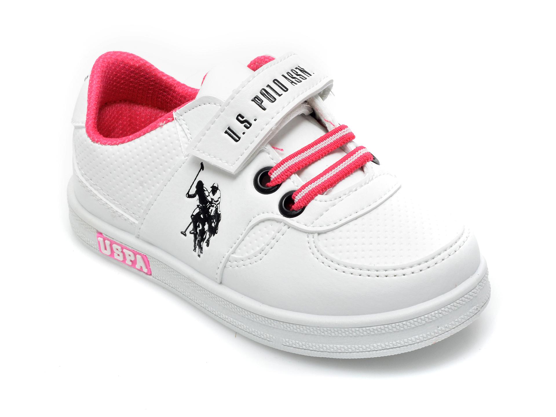 Pantofi sport US POLO ASSN albi, CAME1FX, din piele ecologica