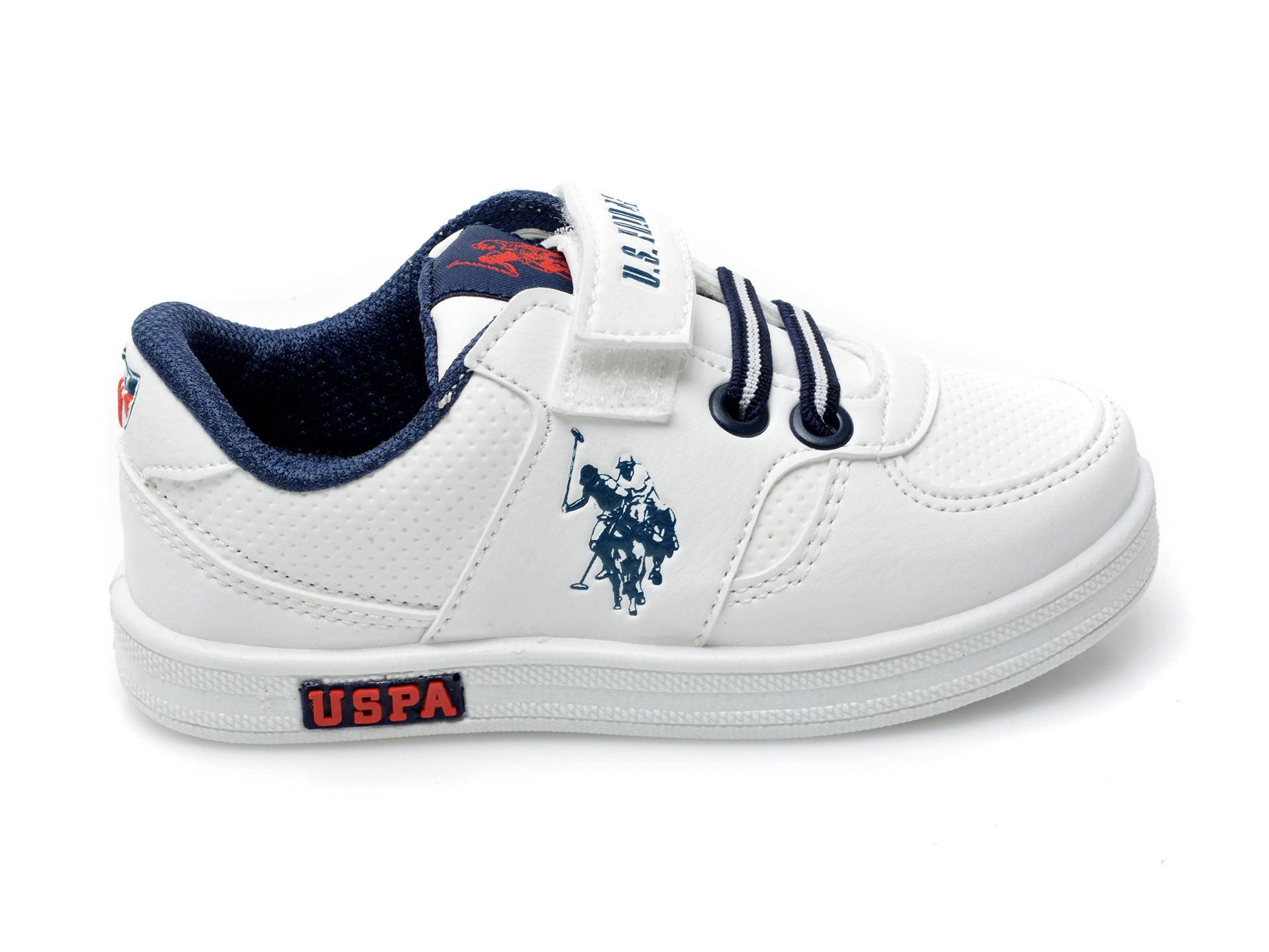 Pantofi sport US POLO ASSN albi, CAME1FX, din piele ecologica - 1