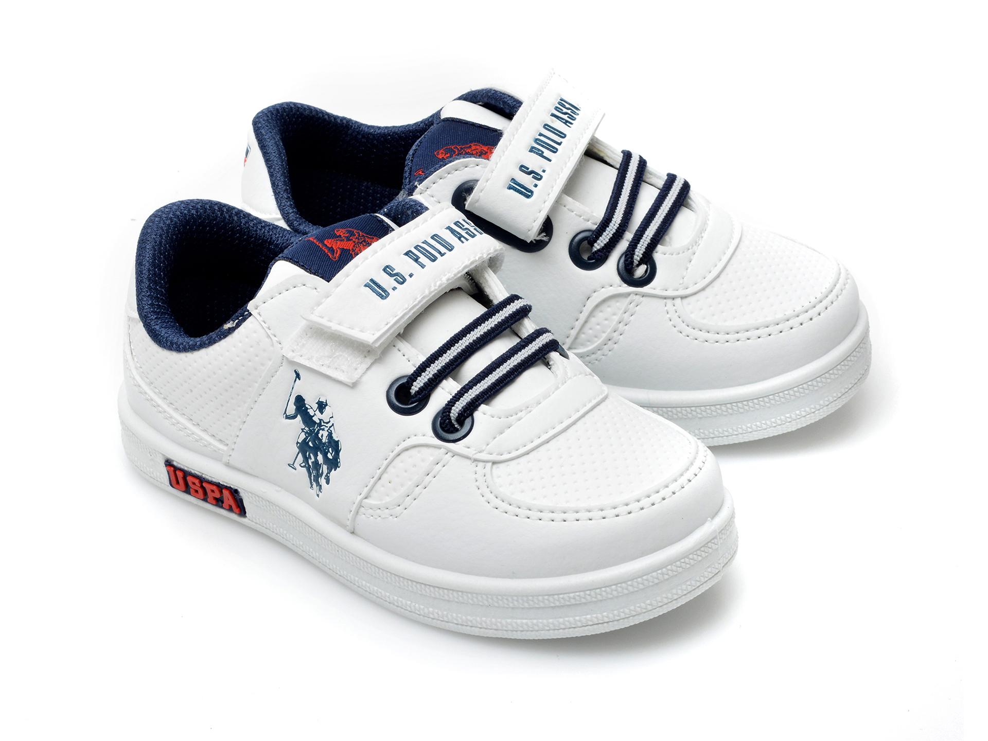 Pantofi sport US POLO ASSN albi, CAME1FX, din piele ecologica - 4