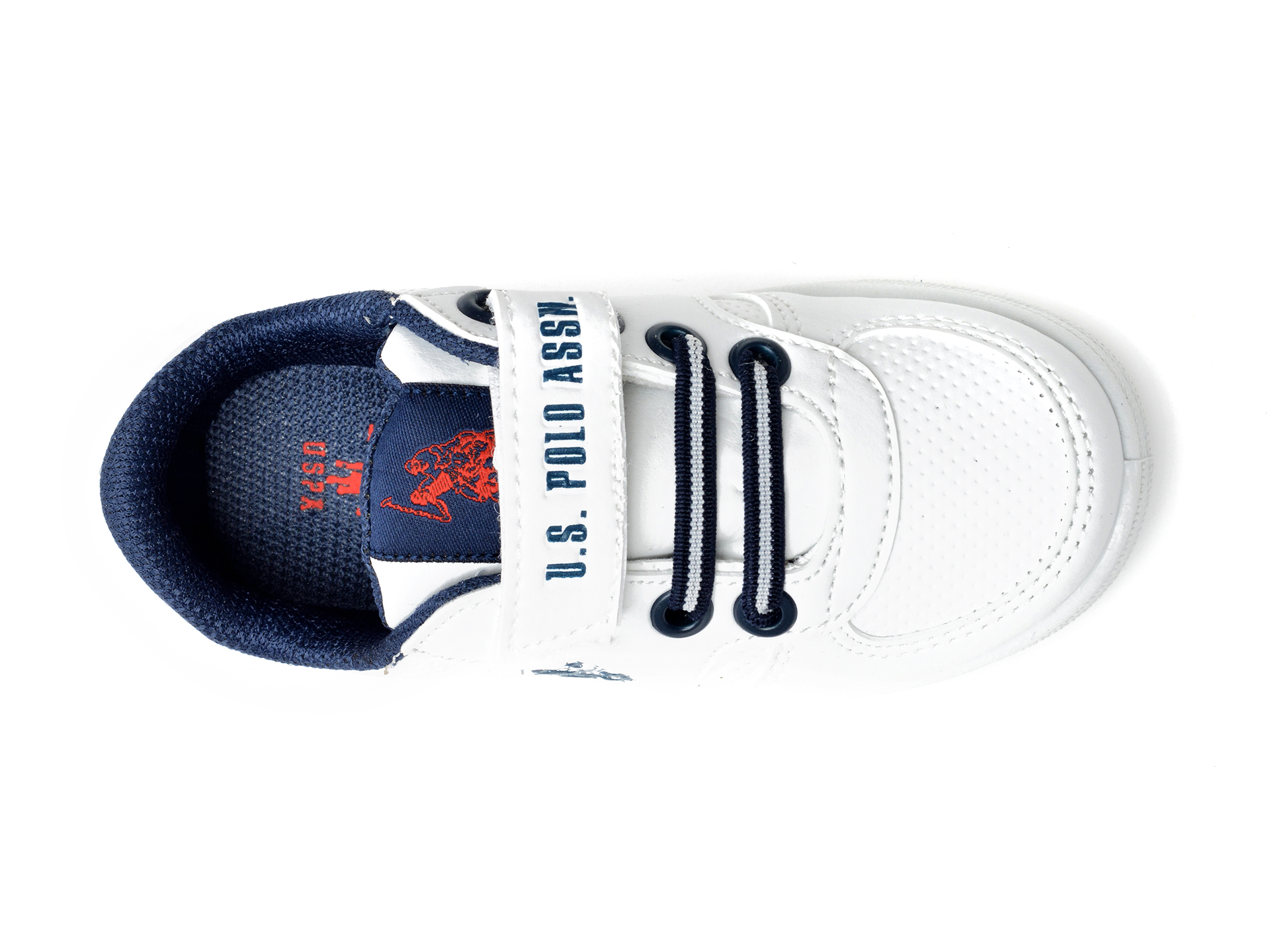 Pantofi sport US POLO ASSN albi, CAME1FX, din piele ecologica - 6