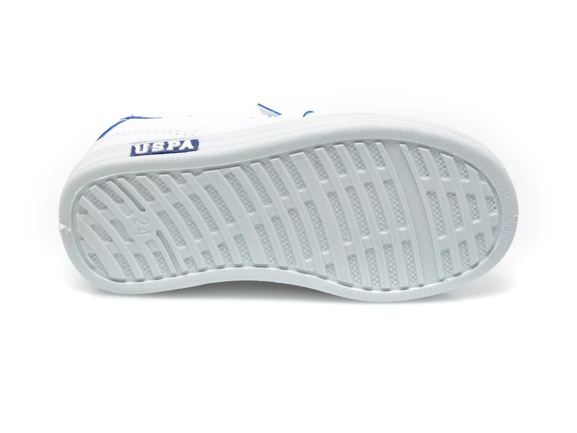 Pantofi sport US POLO ASSN albi, CAME1FX, din piele ecologica - 7