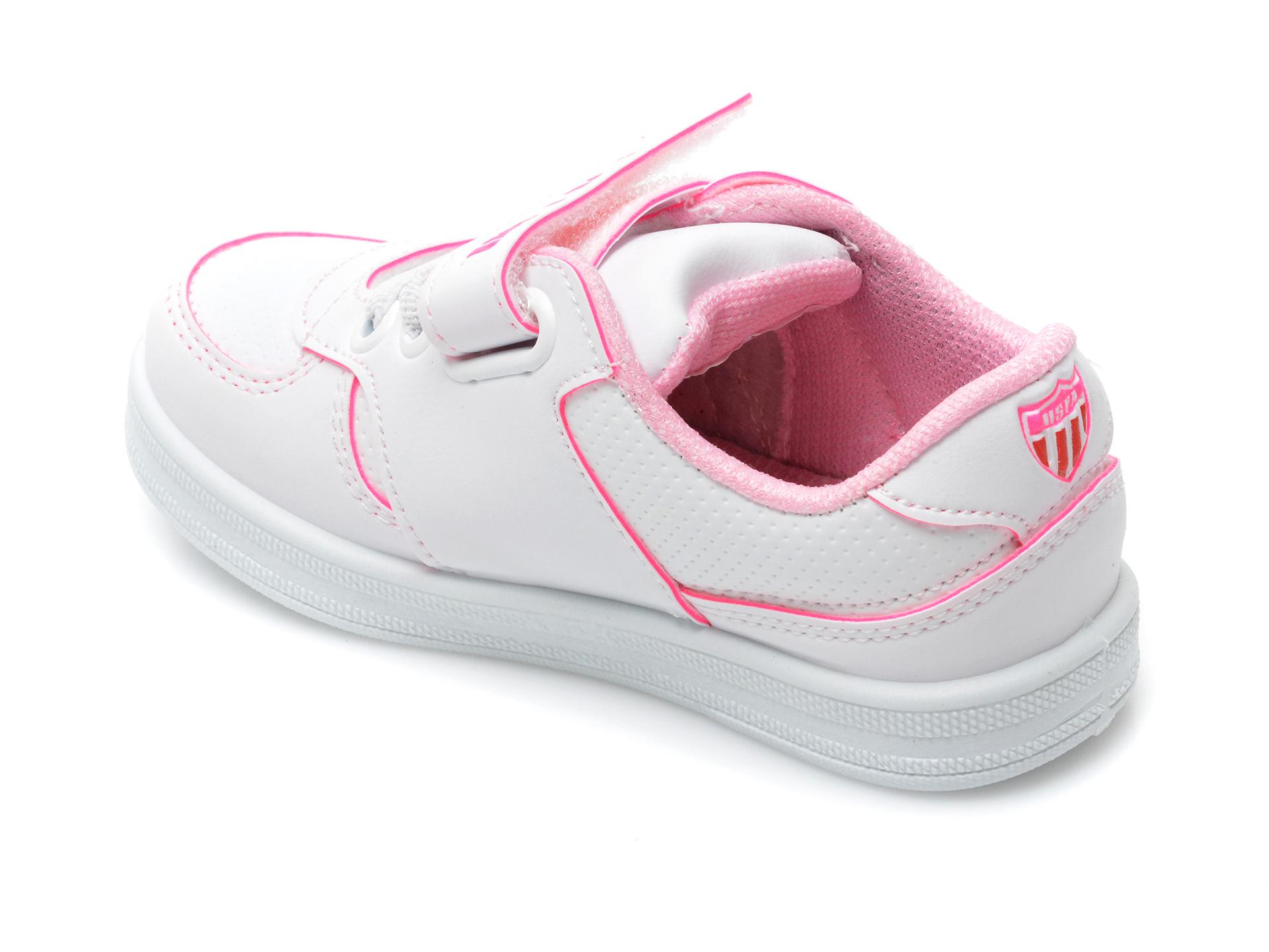 Pantofi sport US POLO ASSN albi, CAME1FX, din piele ecologica - 5