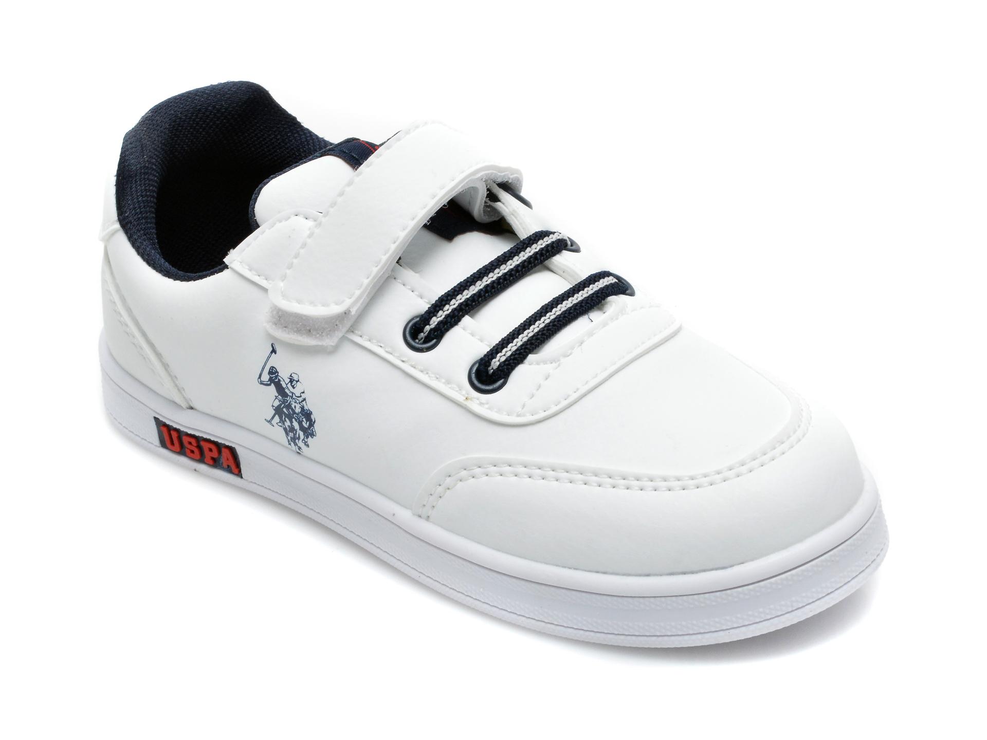 Pantofi sport US POLO ASSN albi, CAMERON WT, din piele ecologica