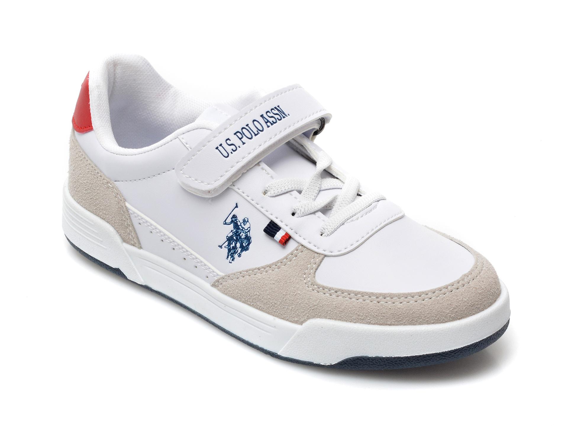 Pantofi sport US POLO ASSN albi, CLINEJR, din piele ecologica