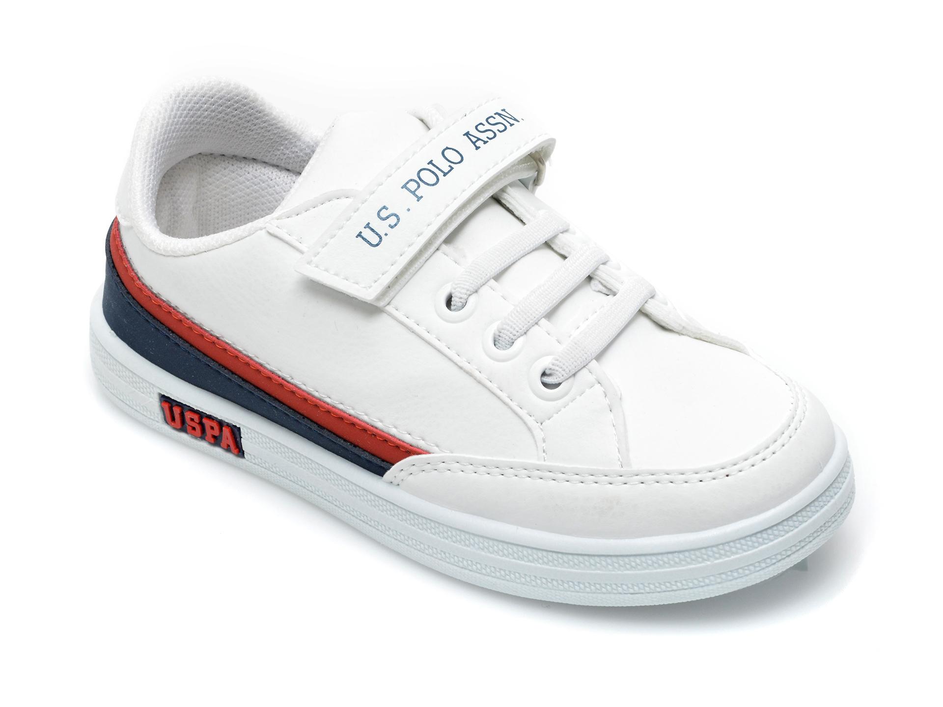 Pantofi sport US POLO ASSN albi, JAMA1FX, din piele ecologica