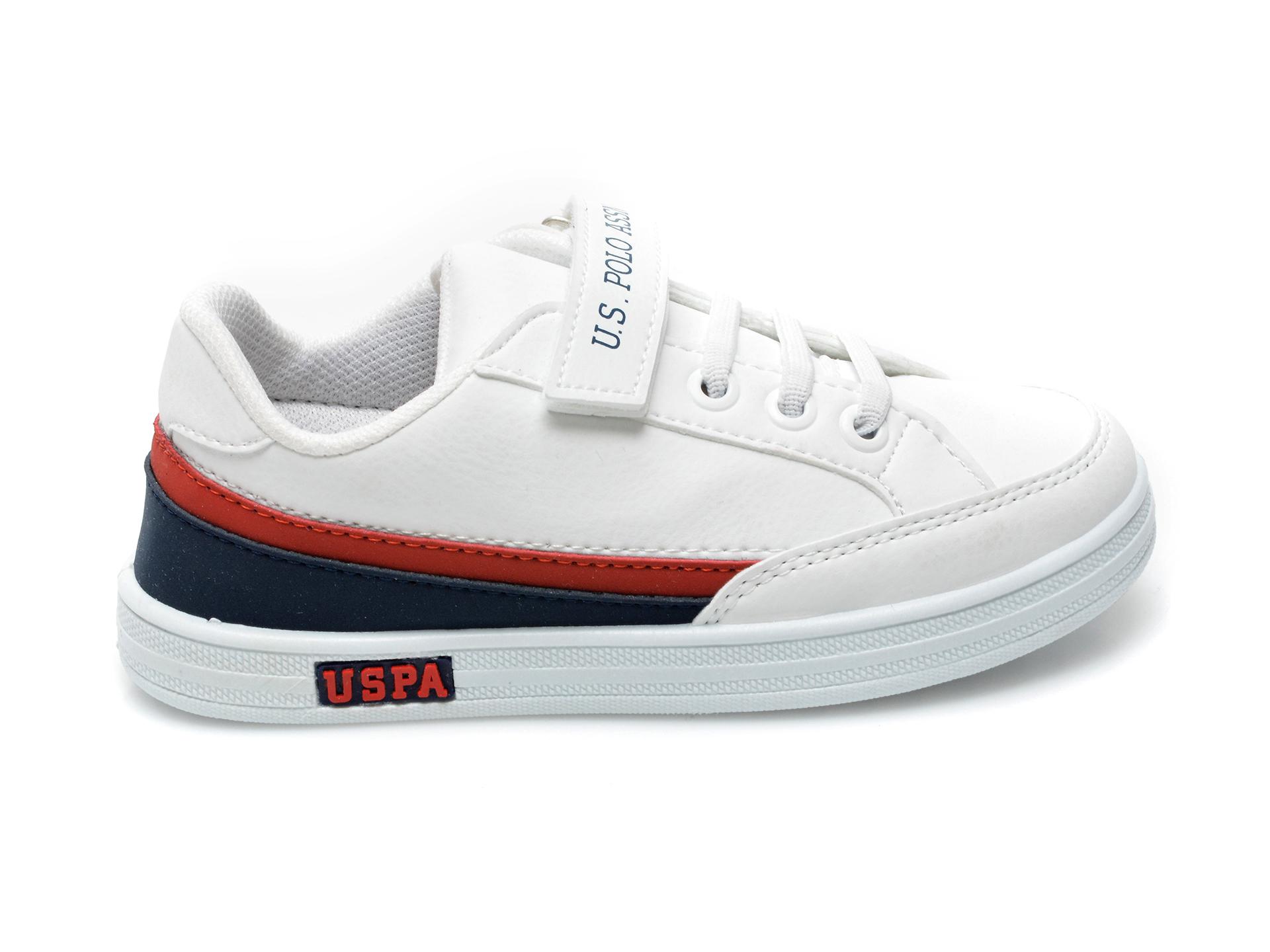 Pantofi sport US POLO ASSN albi, JAMA1FX, din piele ecologica - 1