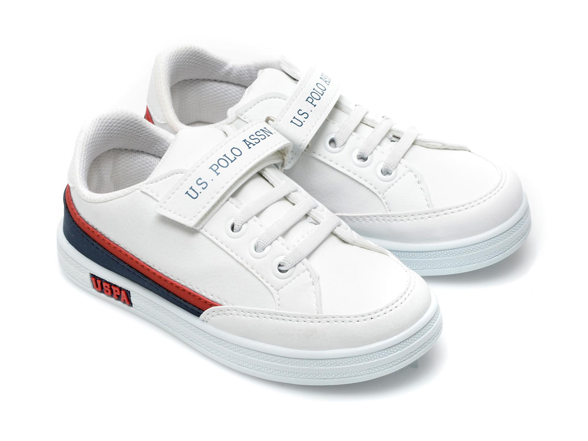 Pantofi sport US POLO ASSN albi, JAMA1FX, din piele ecologica - 4