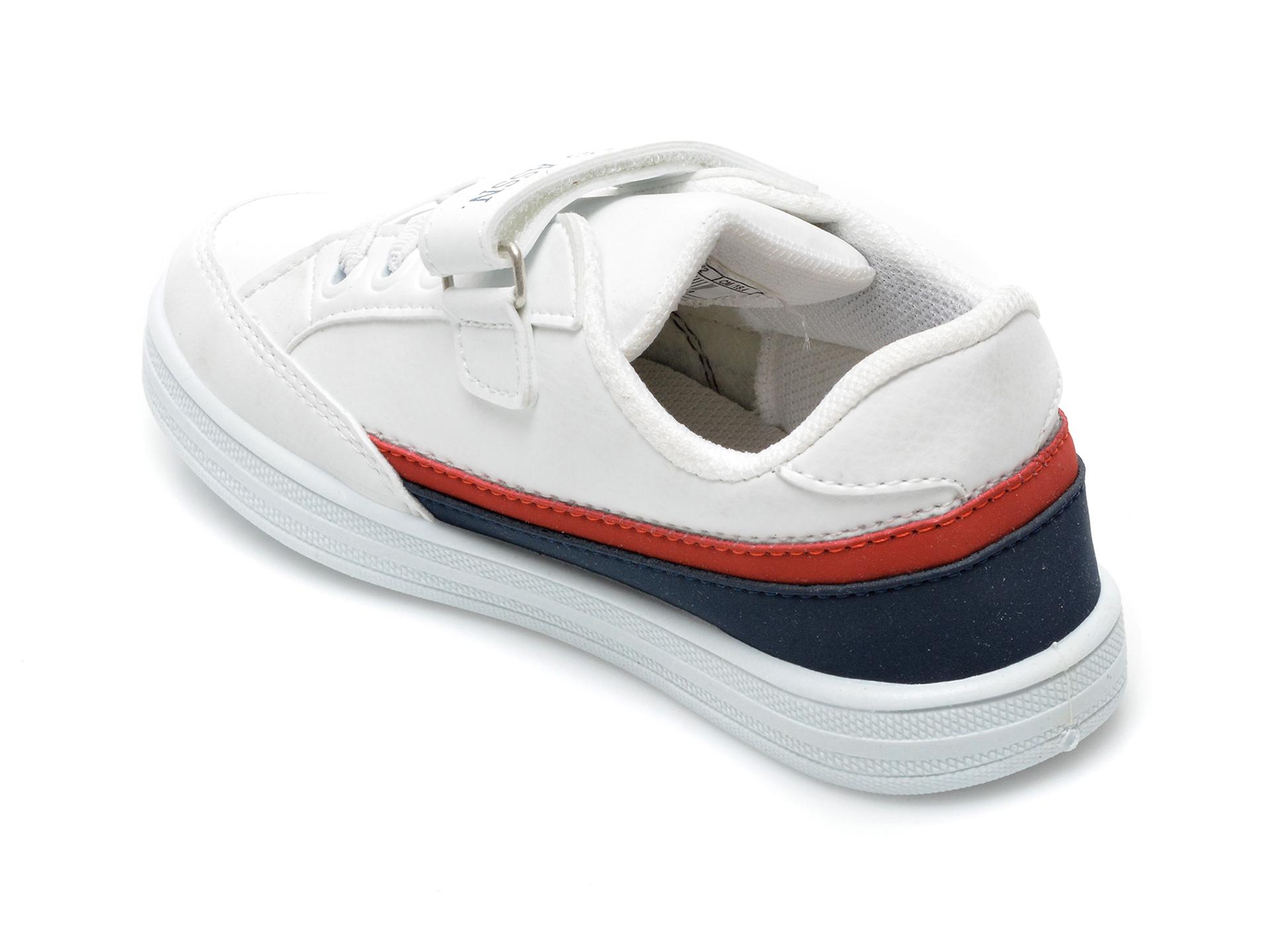 Pantofi sport US POLO ASSN albi, JAMA1FX, din piele ecologica - 5