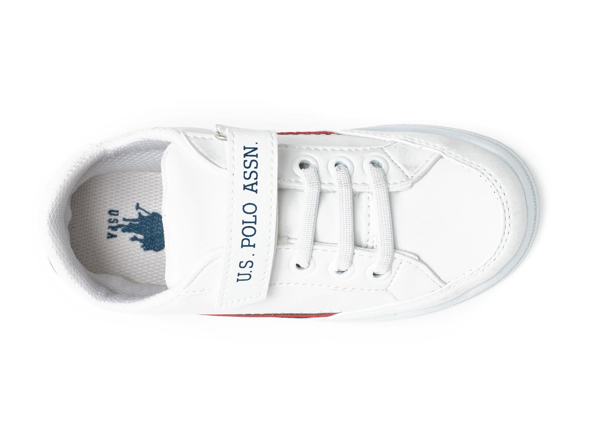 Pantofi sport US POLO ASSN albi, JAMA1FX, din piele ecologica - 6