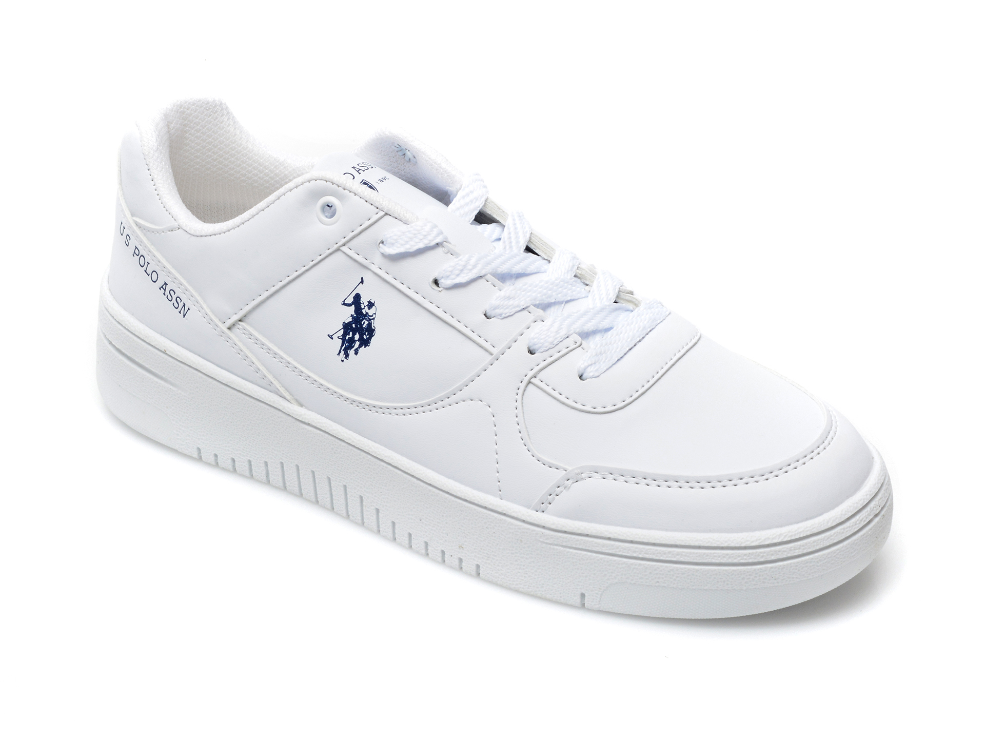 Pantofi sport US POLO ASSN albi, LEEWMN, din piele ecologica imagine otter.ro 2021