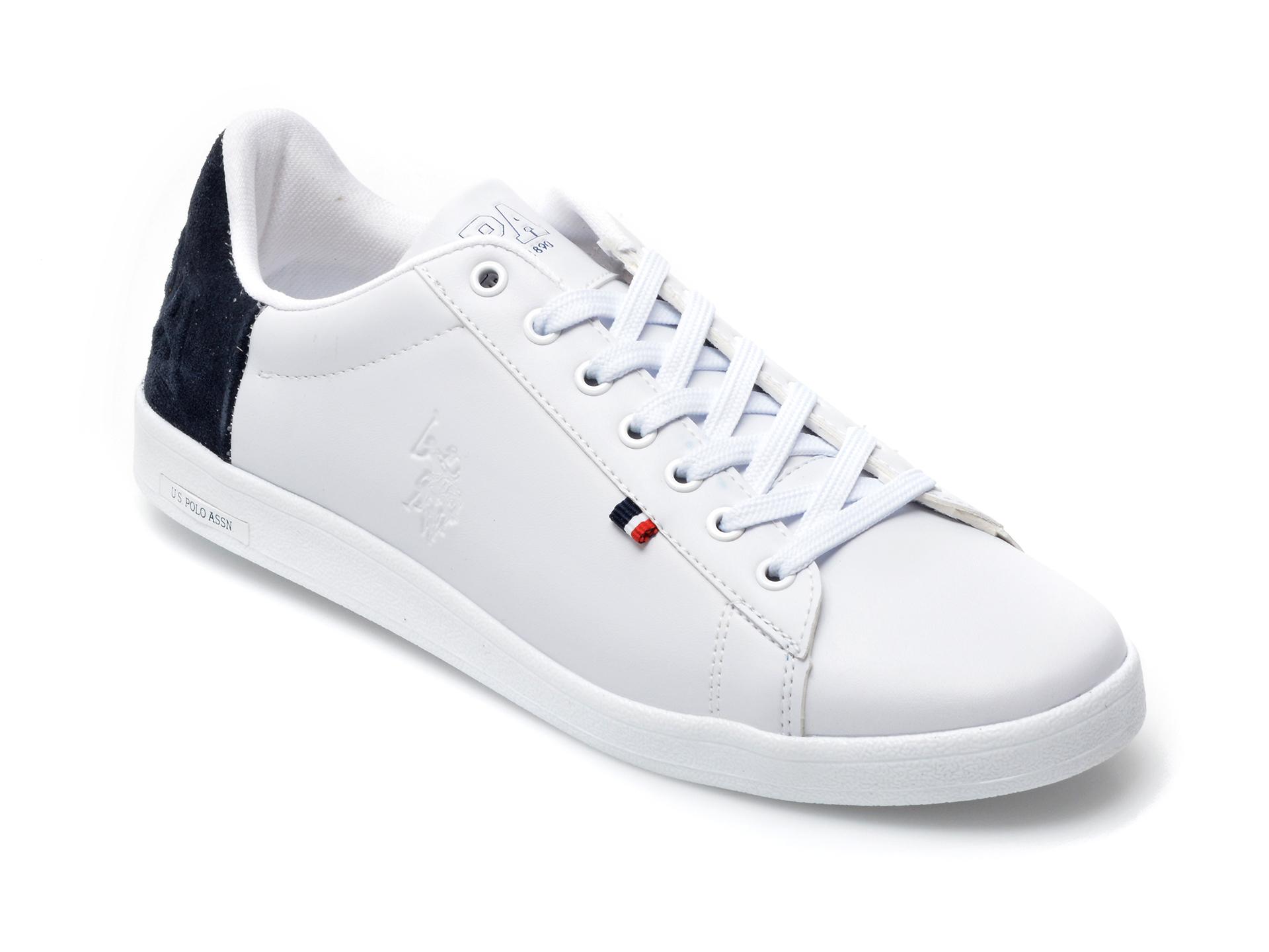 Pantofi sport US POLO ASSN albi, PEDR1FX, din piele ecologica imagine otter.ro