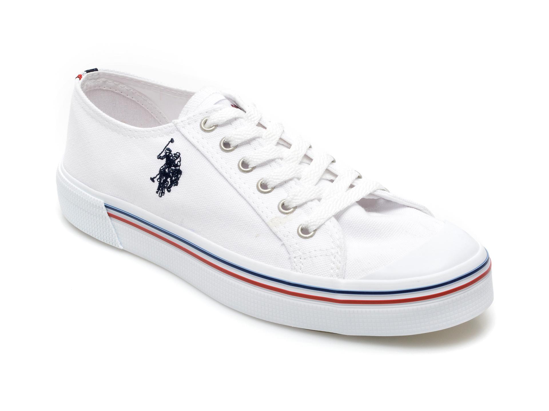 Pantofi sport US POLO ASSN albi, PENE1FX, din material textil imagine otter.ro 2021