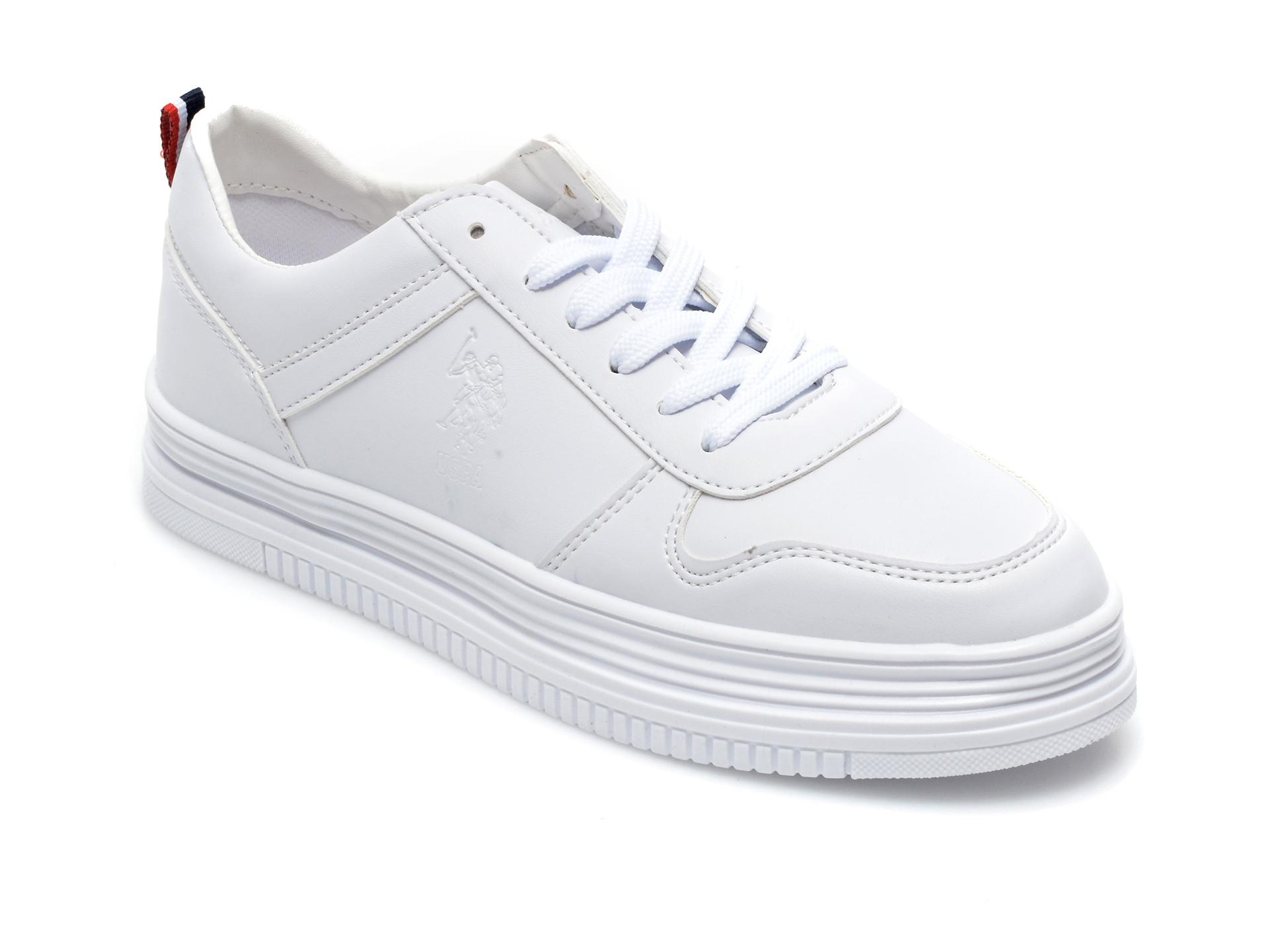 Pantofi sport US POLO ASSN albi, SURI1FX, din piele ecologica imagine otter.ro 2021