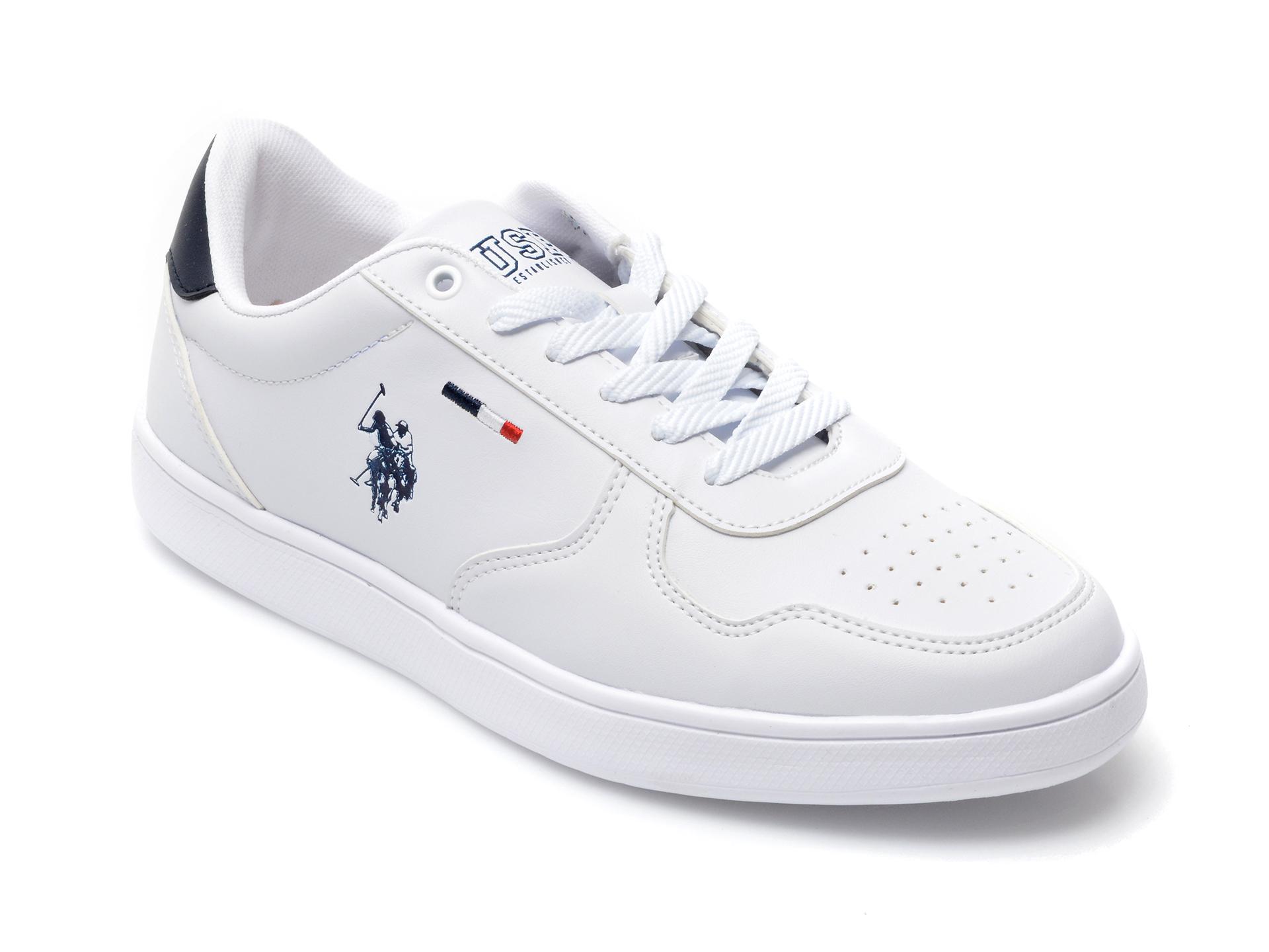 Pantofi sport US POLO ASSN albi, THUNWMN, din piele ecologica imagine otter.ro 2021