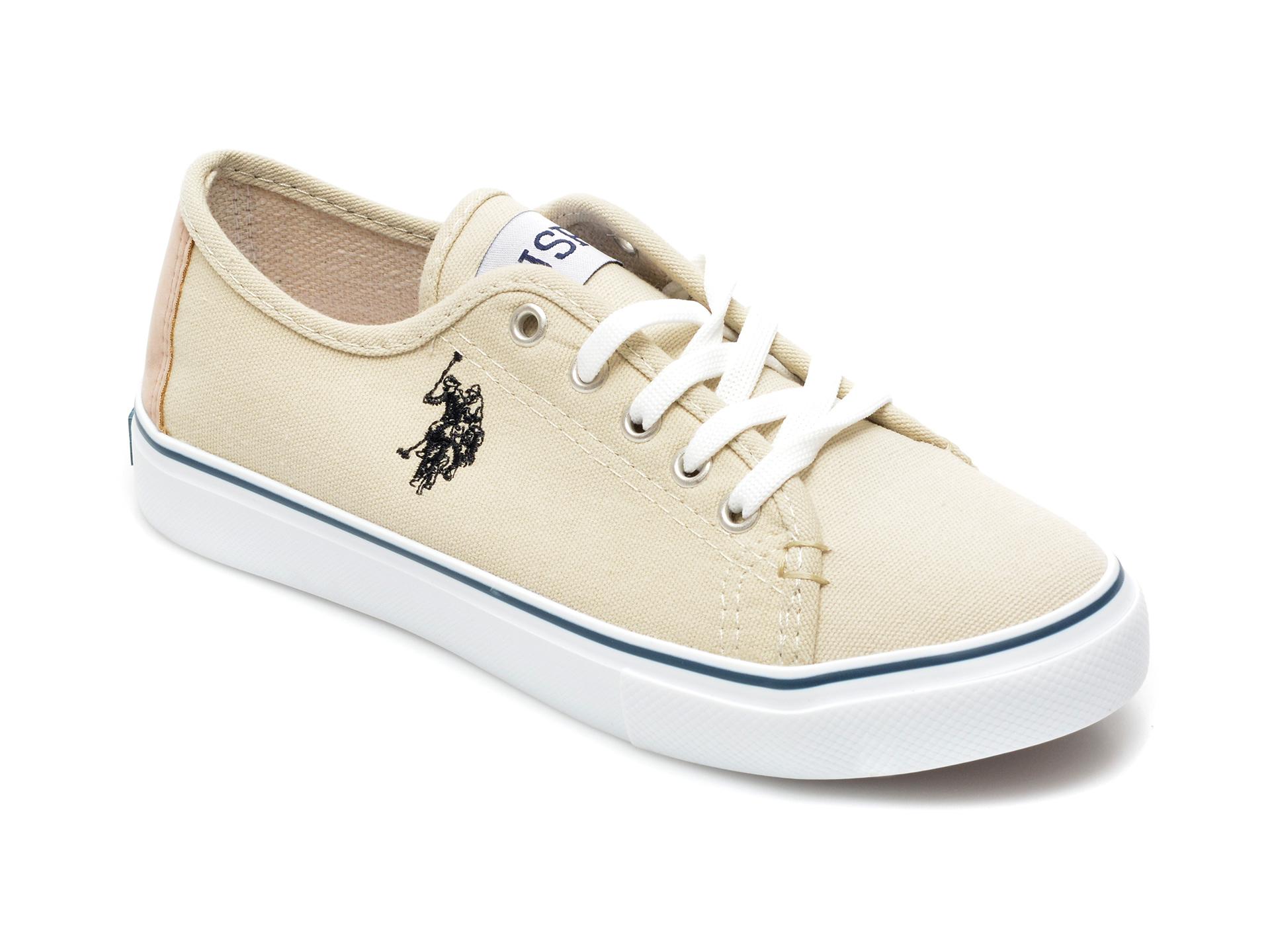 Pantofi sport US POLO ASSN bej, TOGA1FX, din material textil imagine otter.ro 2021