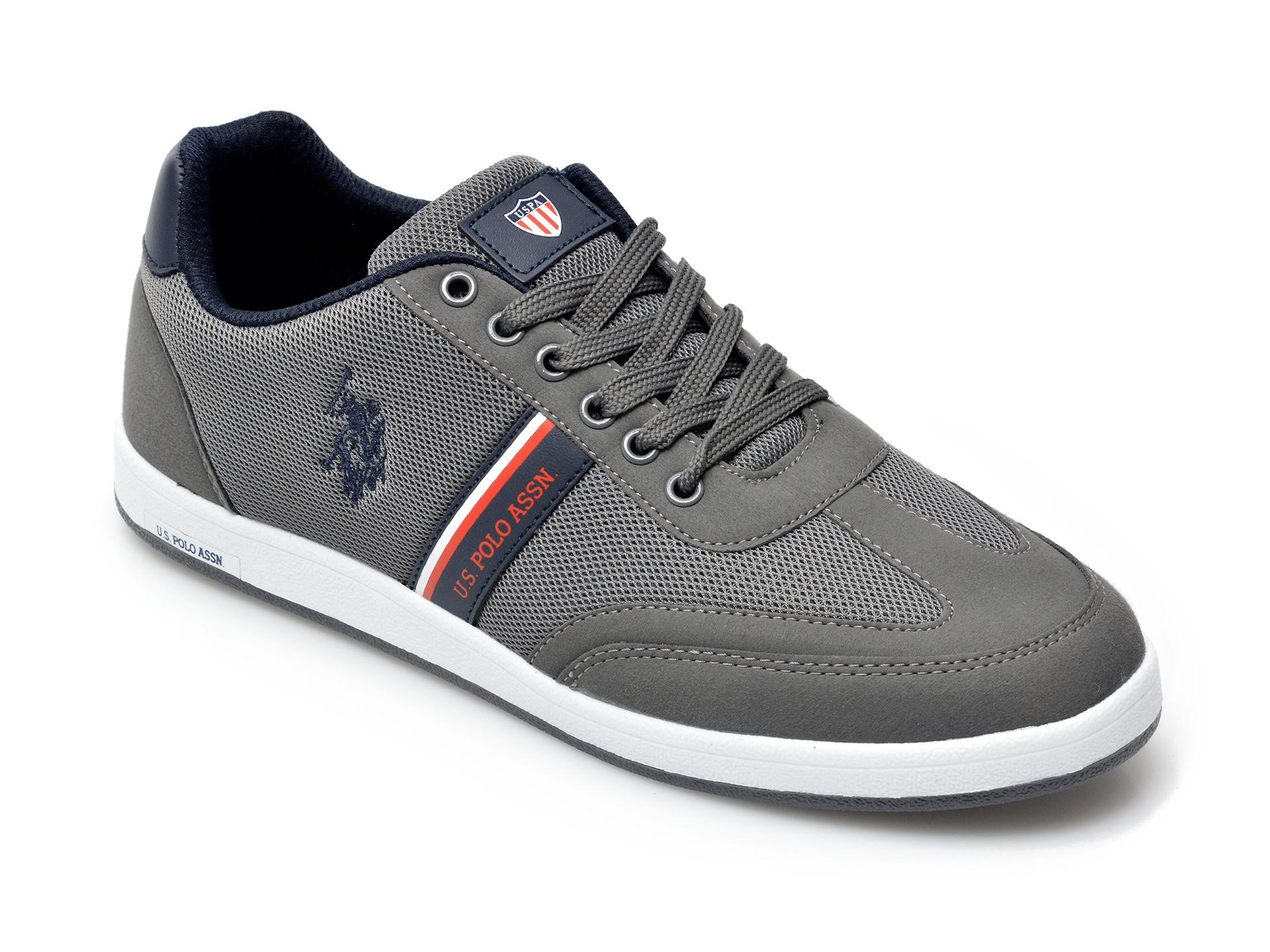 Pantofi sport US POLO ASSN gri, KARE1FX, din material textil si piele ecologica imagine otter.ro 2021