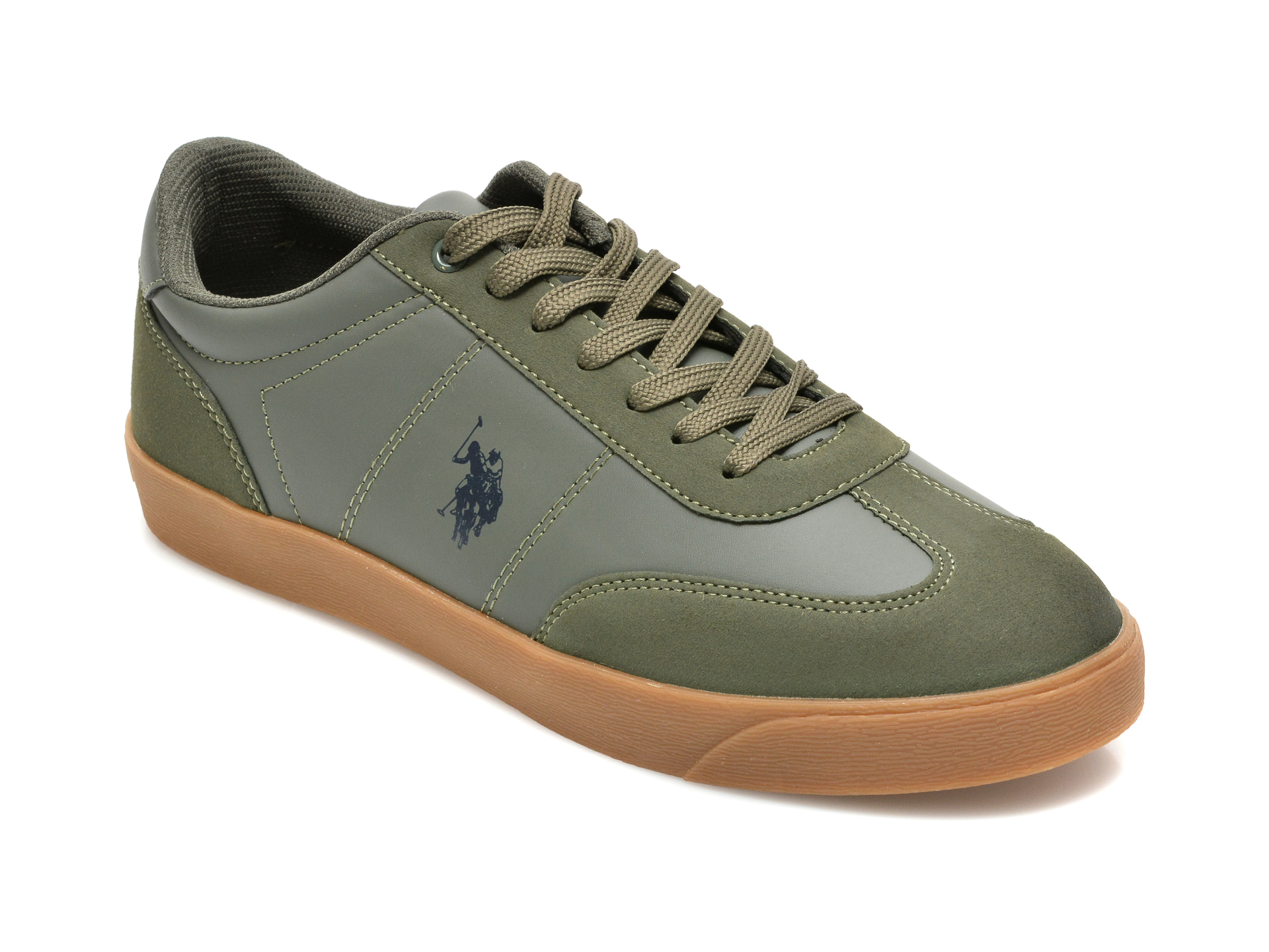 Pantofi sport US POLO ASSN kaki, HUGO, din piele ecologica