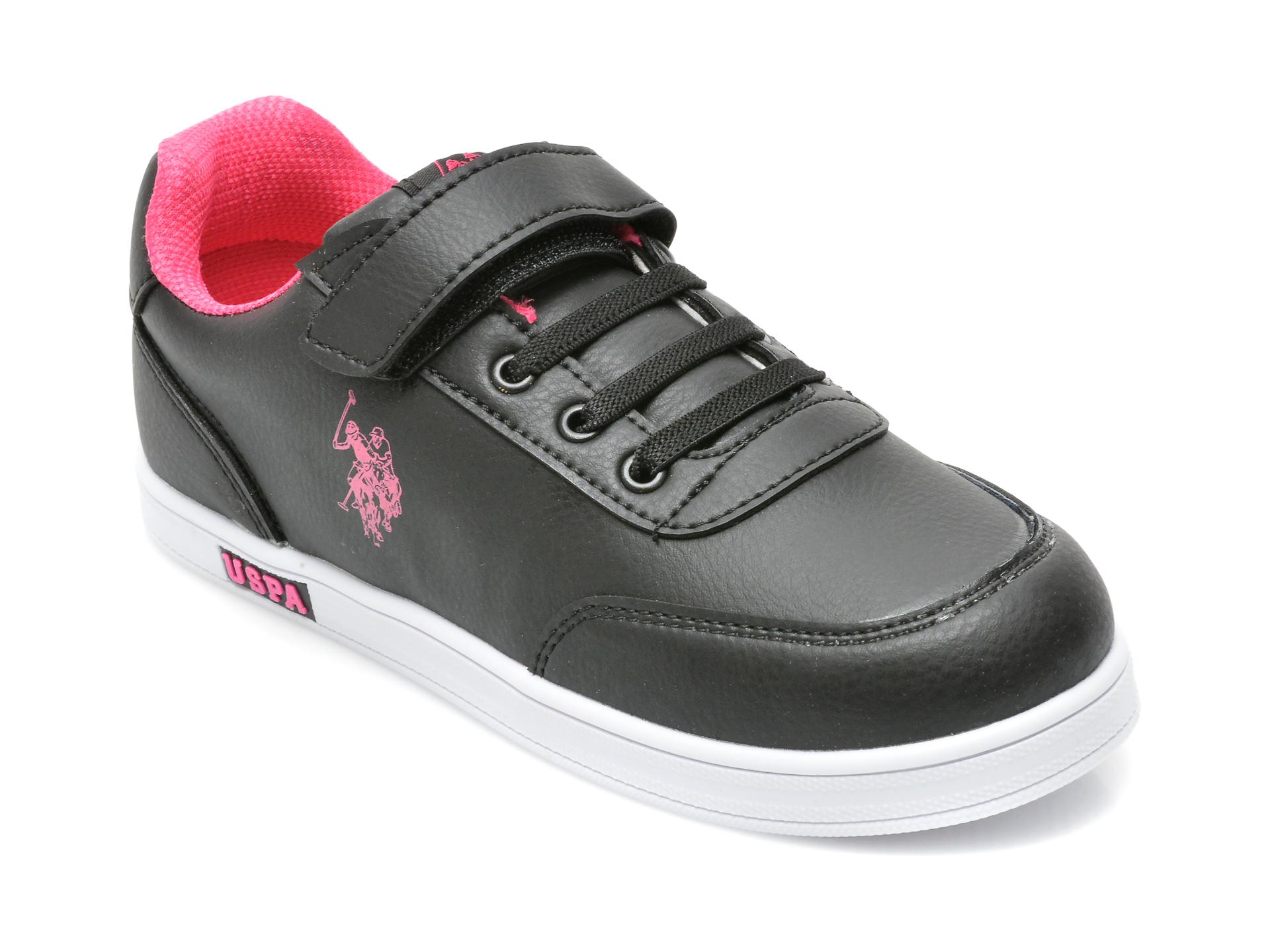 Pantofi sport US POLO ASSN negri, CAMERON WT, din piele ecologica