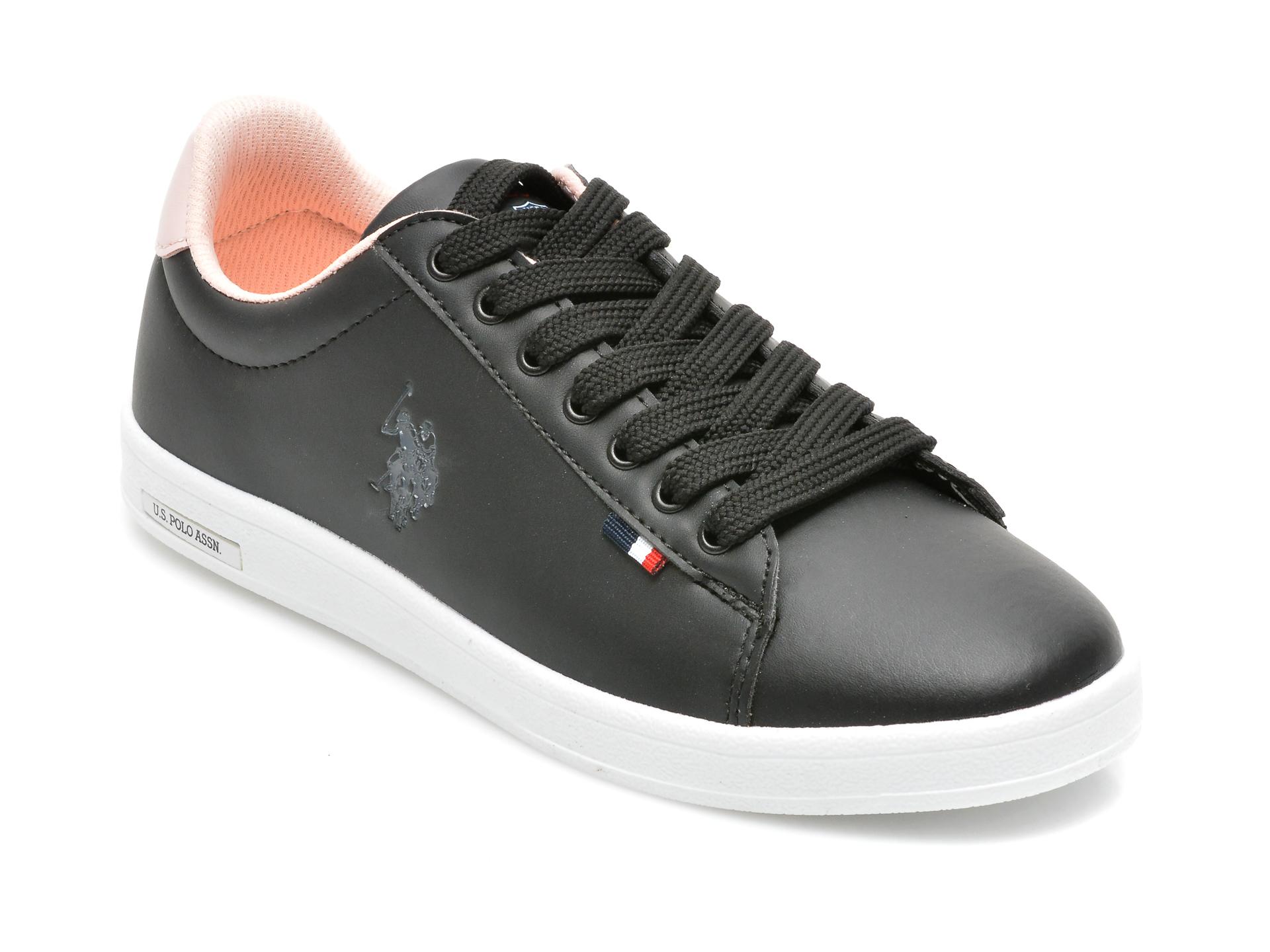 Pantofi sport US POLO ASSN negru, FRANCO WMN, din piele ecologica