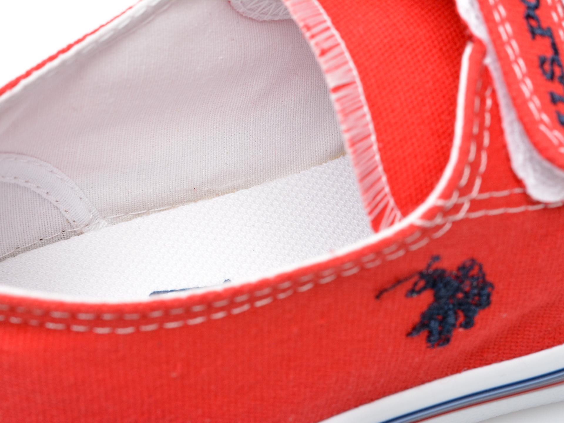 Pantofi sport US POLO ASSN rosii, PENEL1F, din material textil - 3