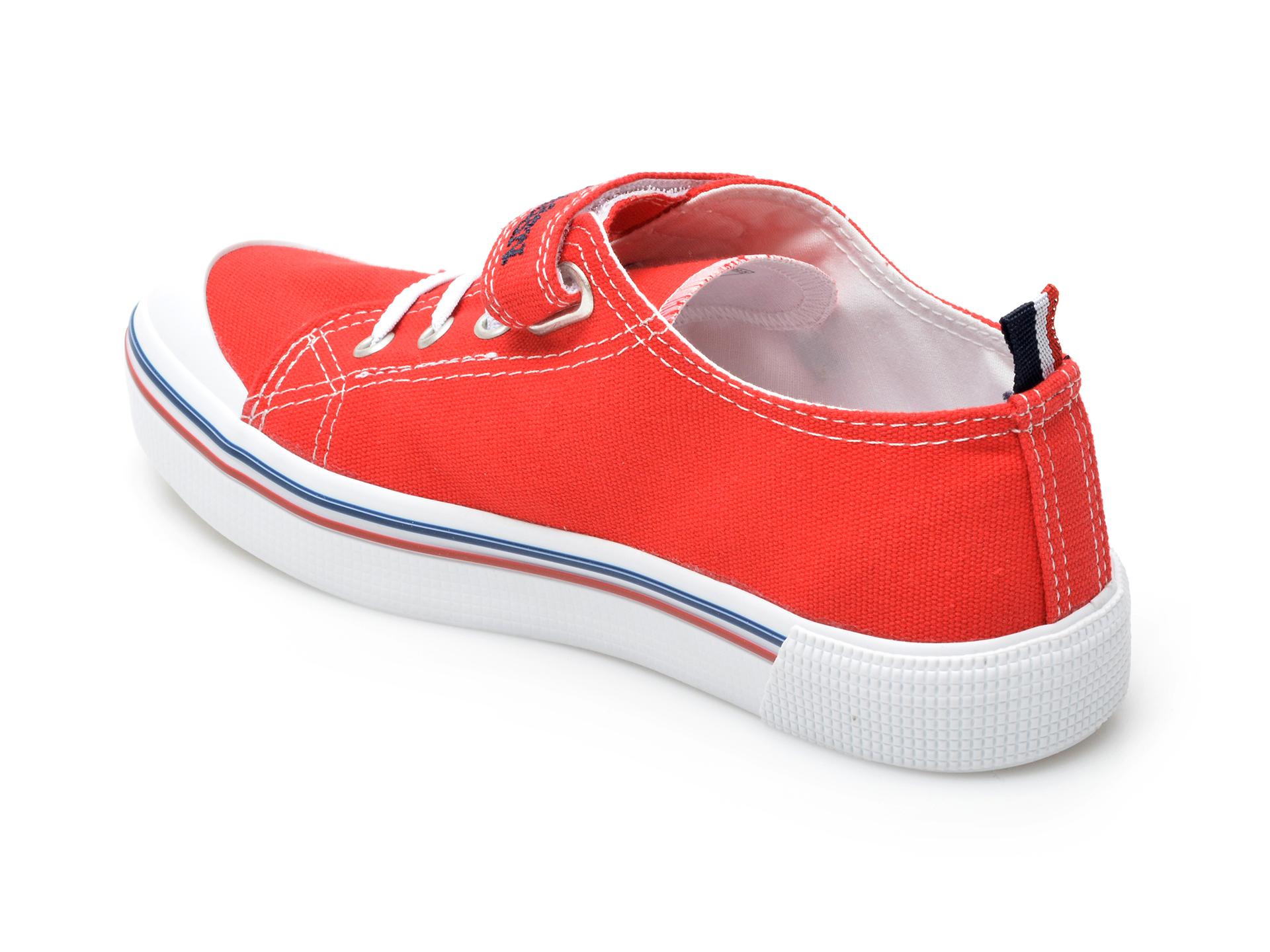 Pantofi sport US POLO ASSN rosii, PENEL1F, din material textil - 5