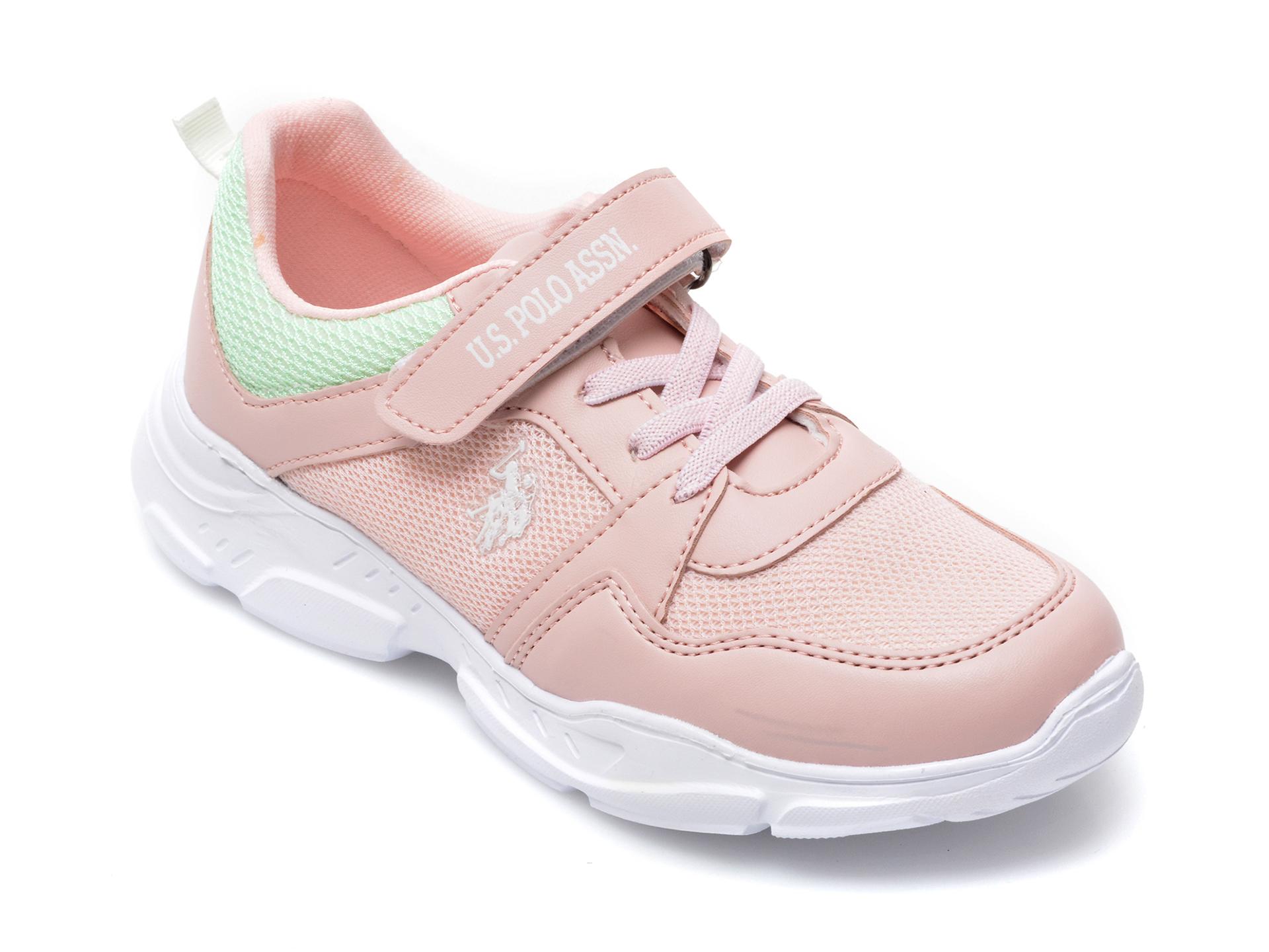 Pantofi sport US POLO ASSN roz, RECE1FX, din material textil si piele ecologica