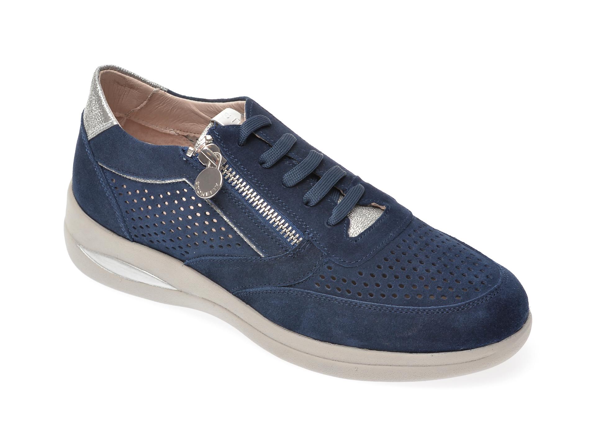 Pantofi Stonefly Bleumarin, Aurora5, Din Piele Intoarsa