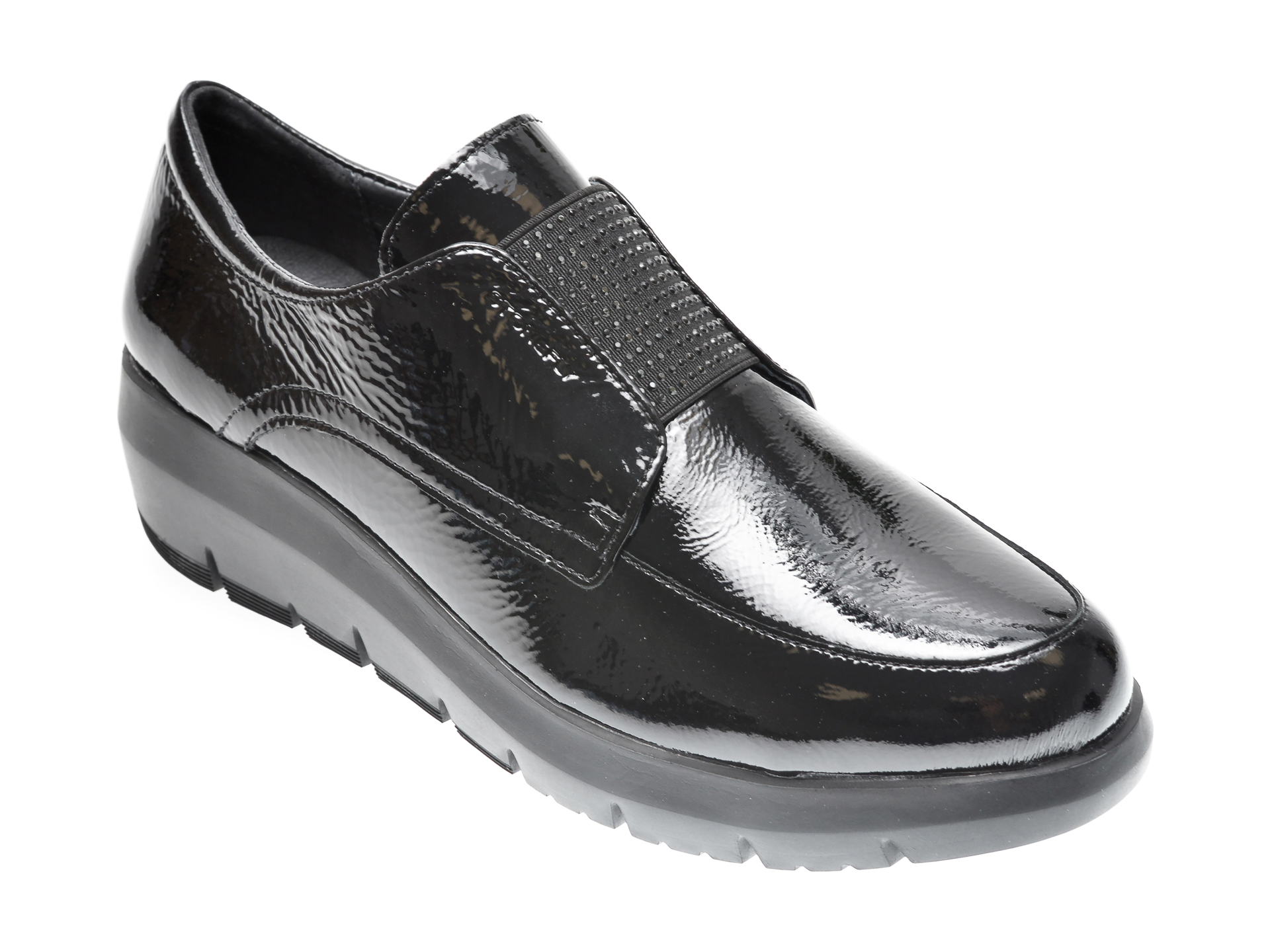 Pantofi STONEFLY negri, PLUME7, din piele naturala lacuita imagine