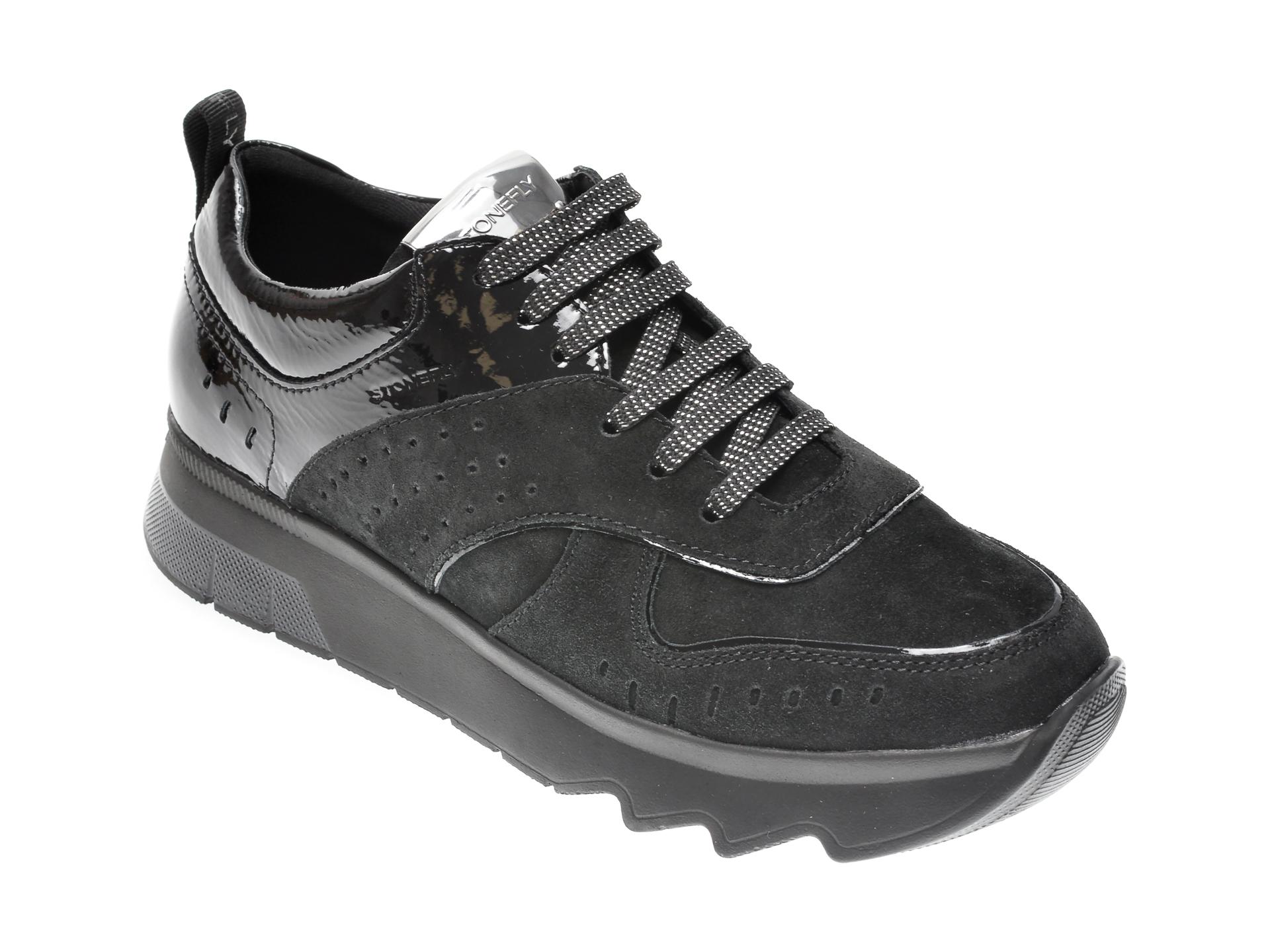 Pantofi STONEFLY negri, SPOCK21, din piele intoarsa imagine