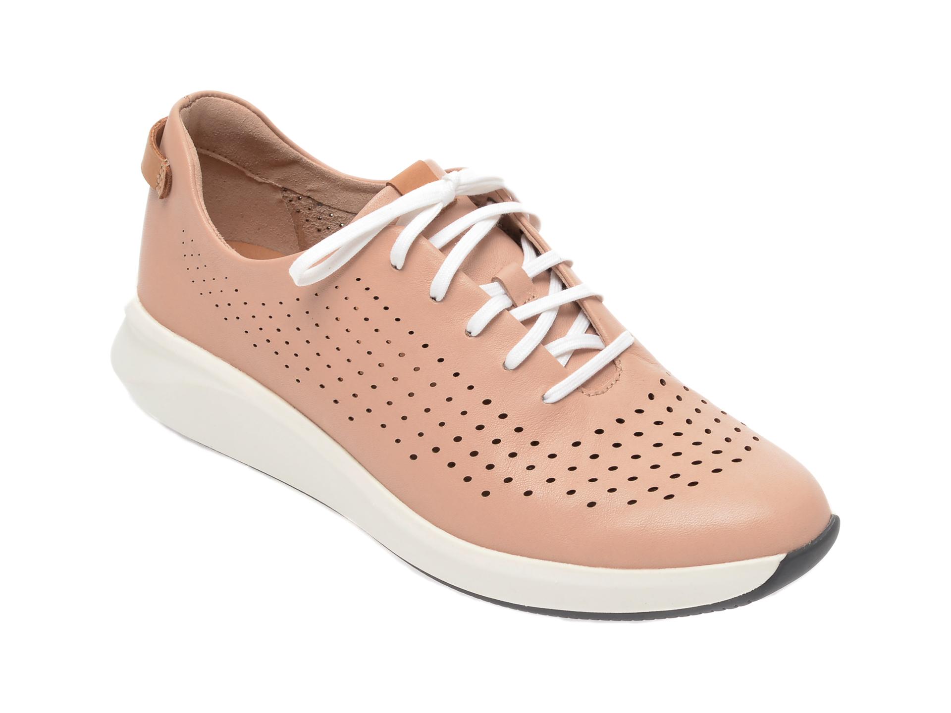 Pantofi vara CLARKS nude, Un Rio Tie, din piele naturala imagine