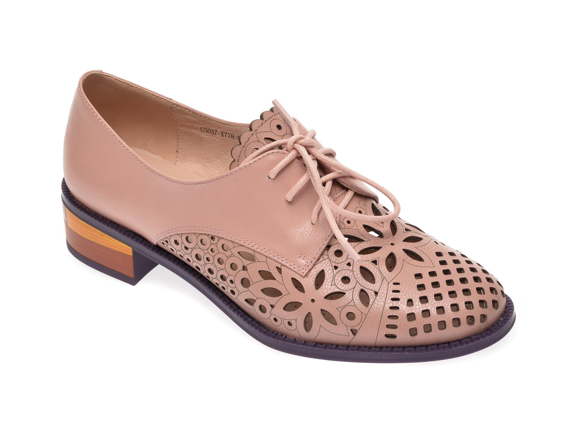 Pantofi vara IMAGE roz, CS037X7, din piele naturala
